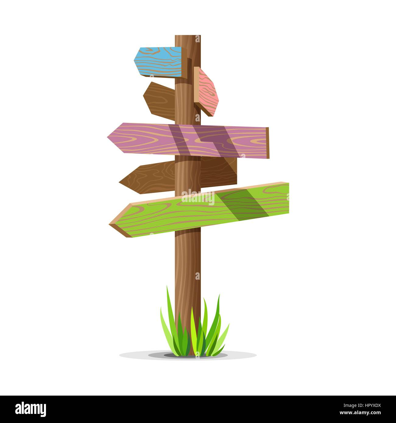 Colored wooden arrow empty vector signboard - Stock Vector