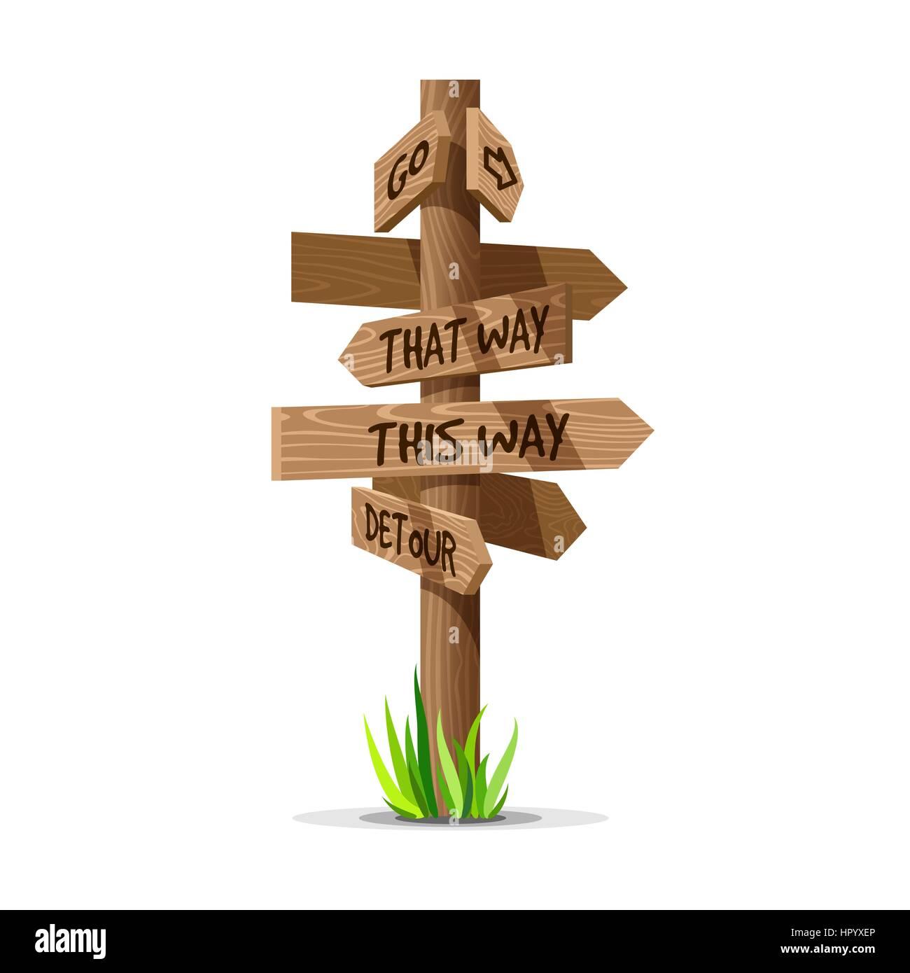 Wooden arrow vector direction signboard - Stock Vector
