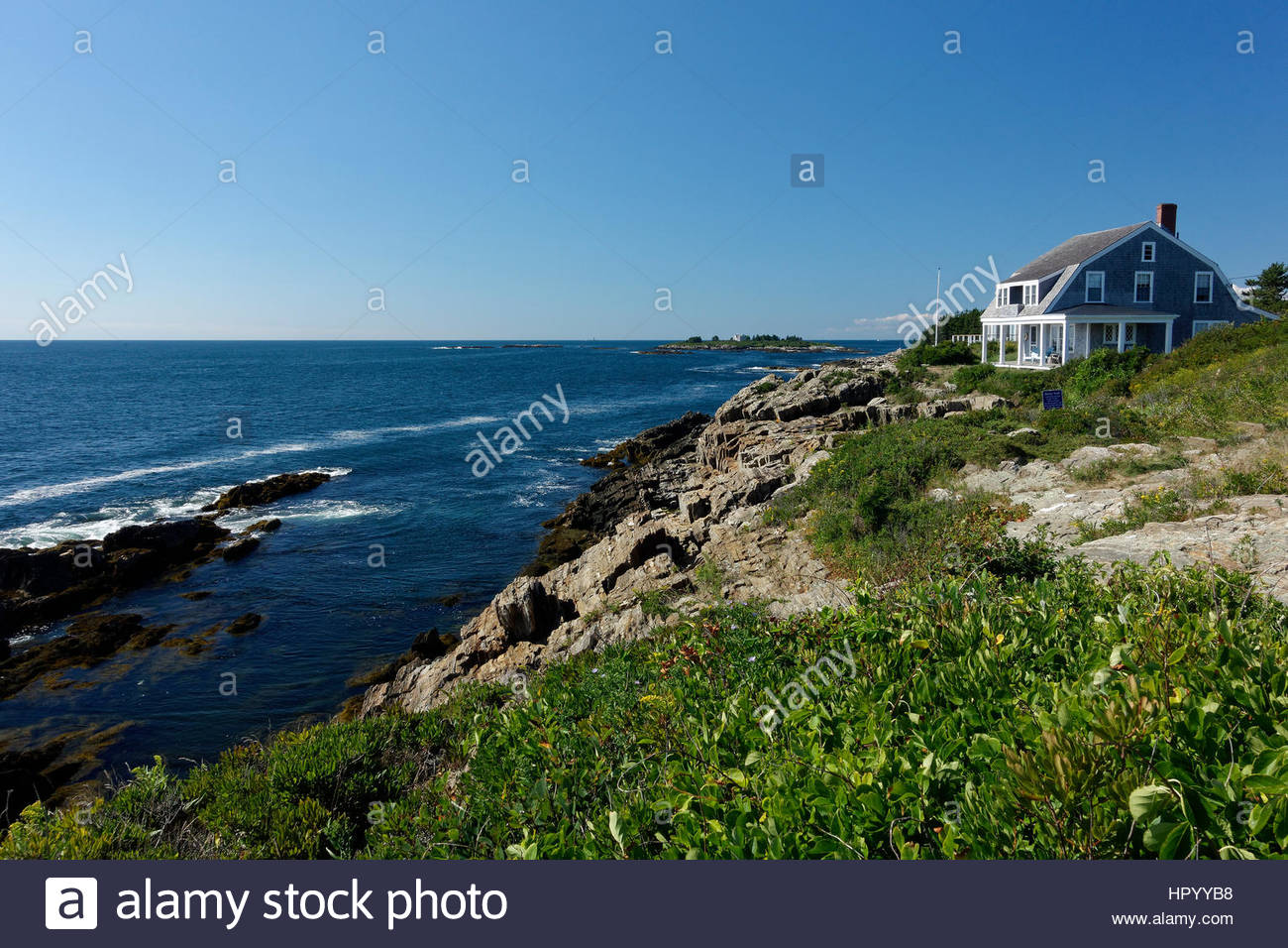 House on the Atlantic Ocean, Harpswell, Maine, USA - Stock Image