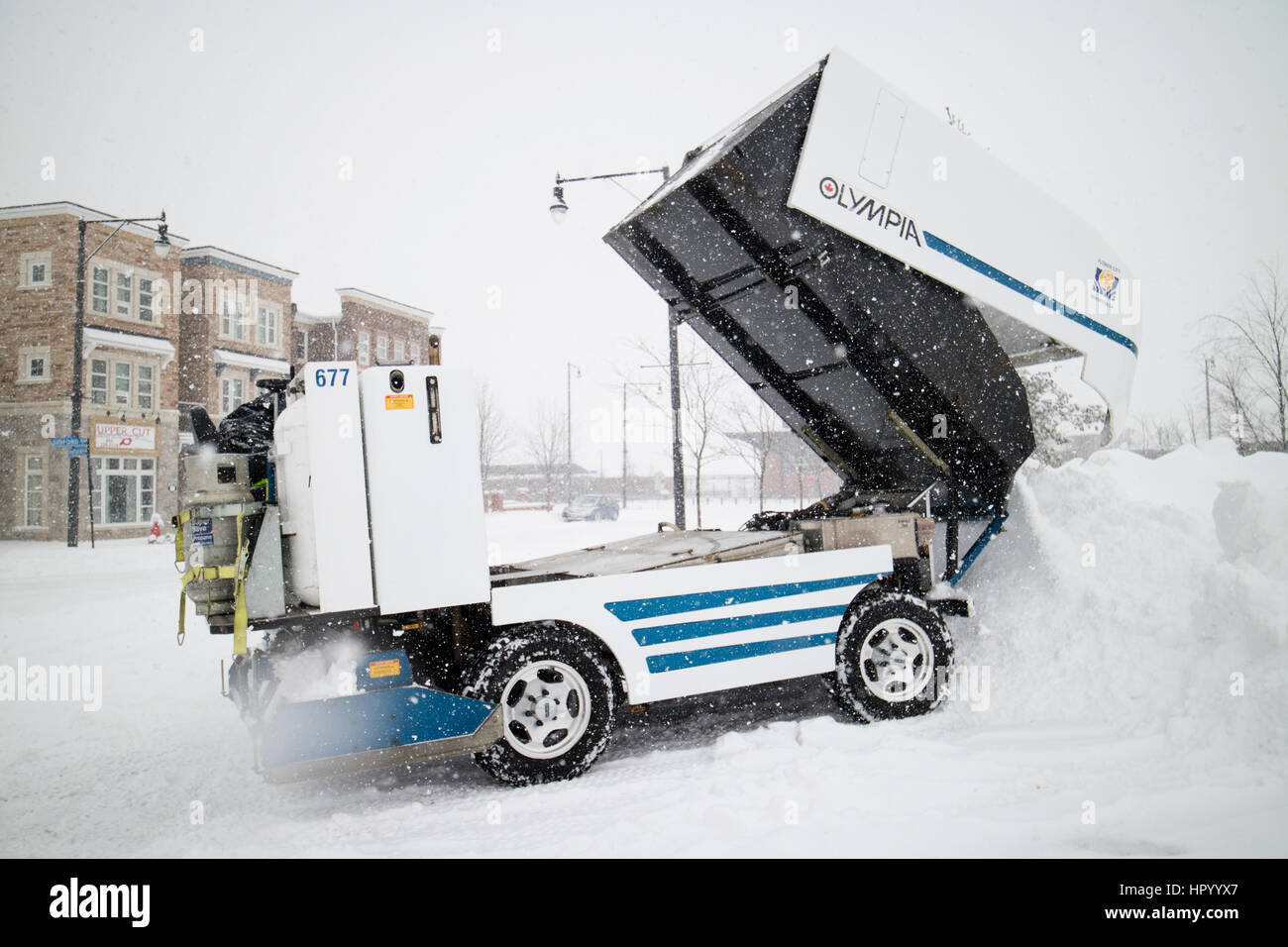 Zamboni vehicle cleaning snow on outdoor rink and dumping snow in a pile - Stock Image