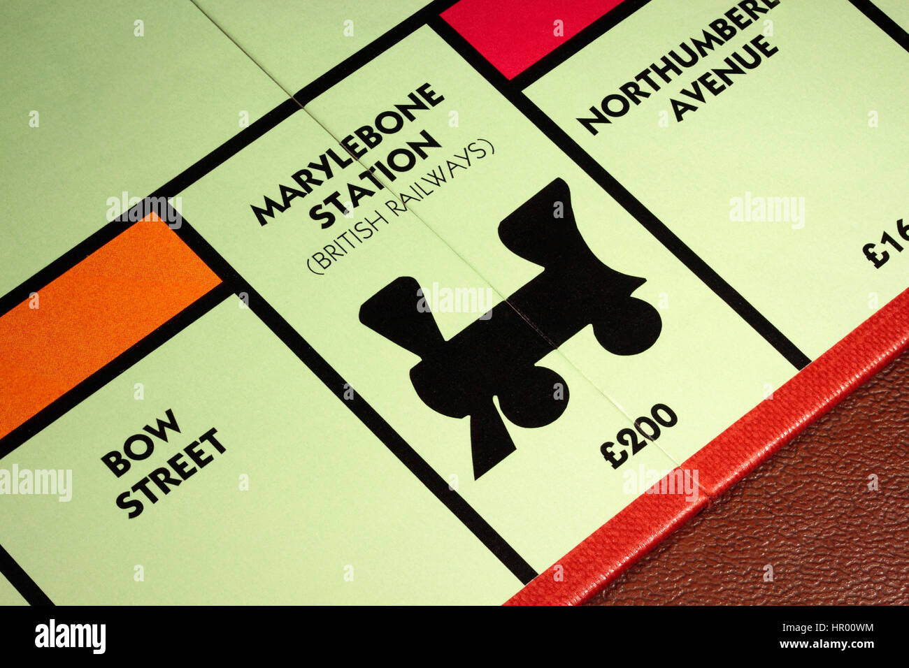Monopoly board game Marylebone Station British Railways £200 with Bow Street to the left and Northumberland - Stock Image