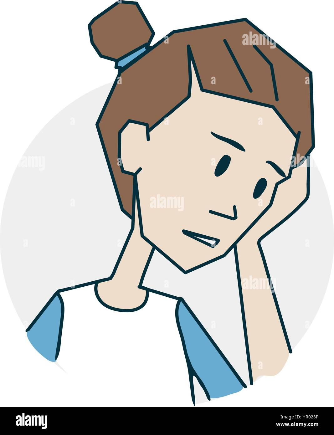 Girl upset. The girl has a headache. Icon on medical subjects. Illustration of a funny cartoon style - Stock Vector