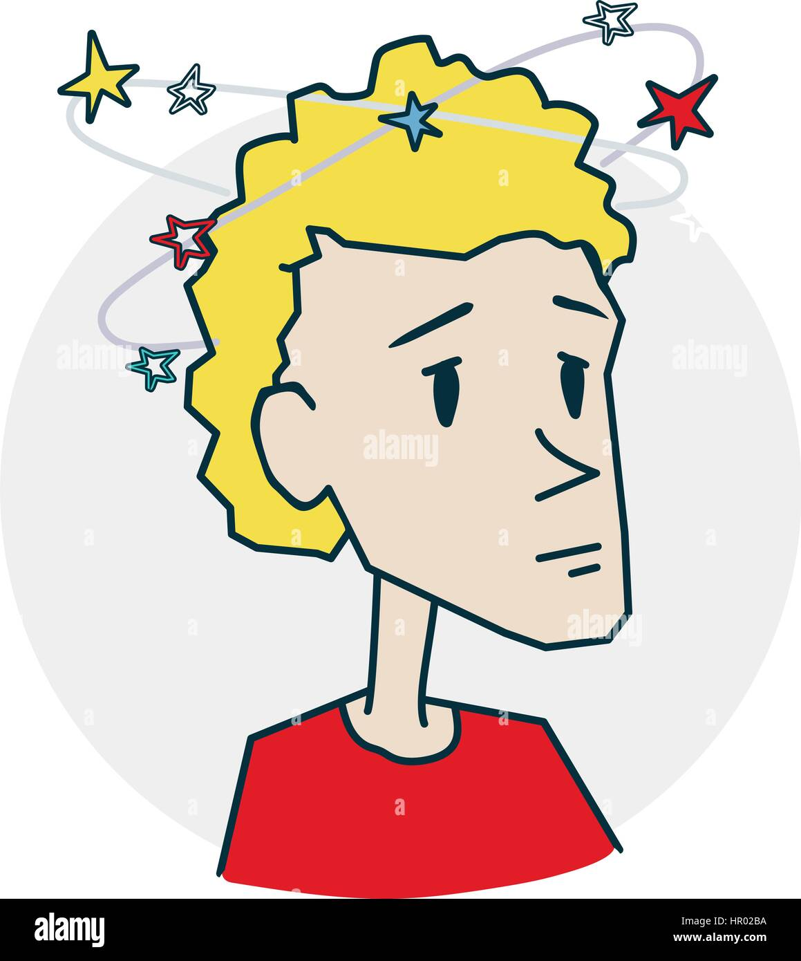 Dizzy as many asterisks around. Icon on medical subjects. Illustration of a funny cartoon style - Stock Image