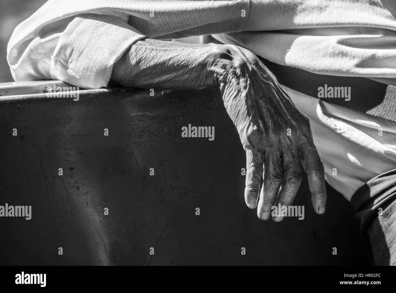 Hand of an old man, Yangon, Myanmar - Stock Image