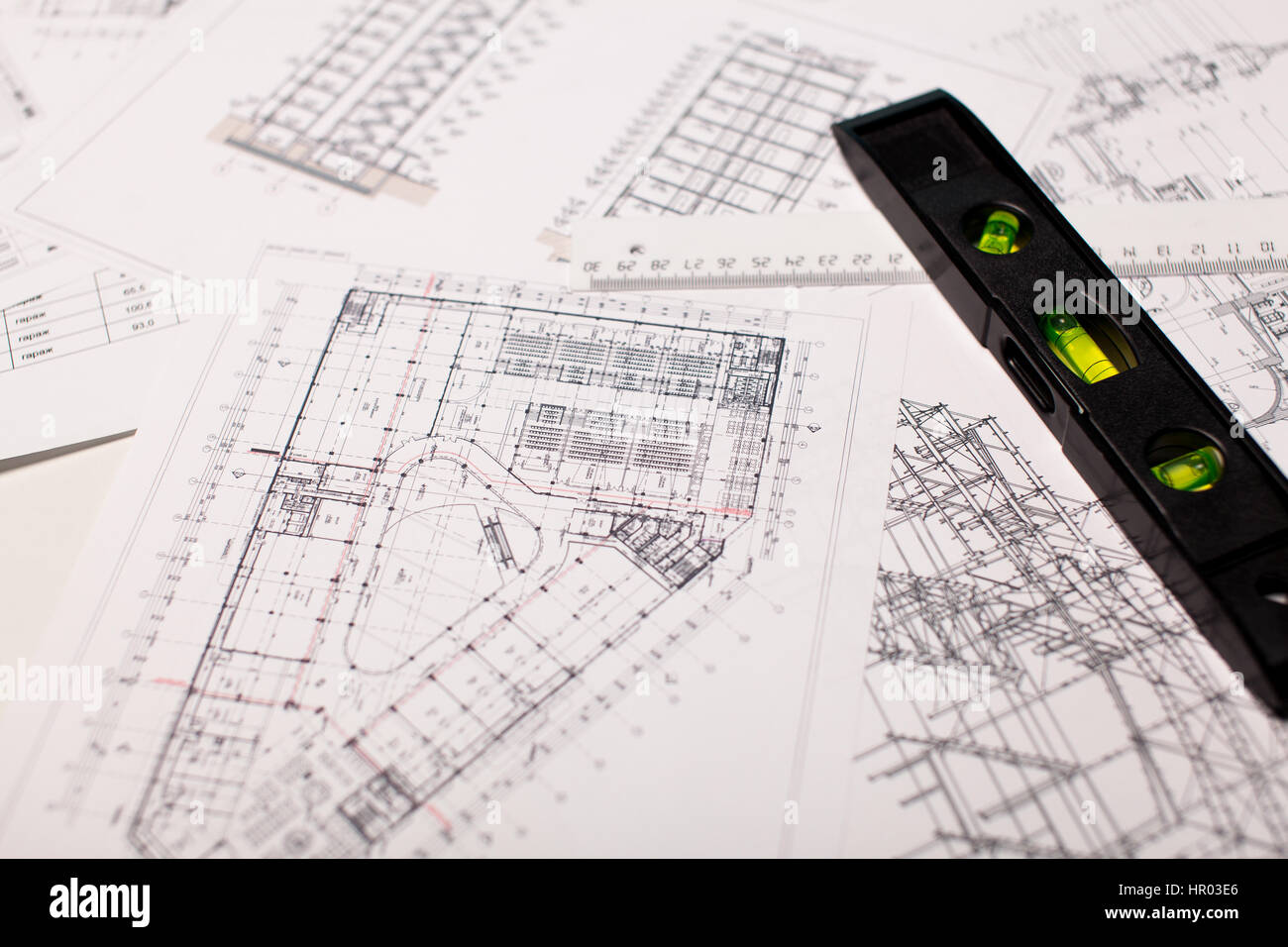 Architecture Background: Construction Plan Tools And Blueprint Drawings
