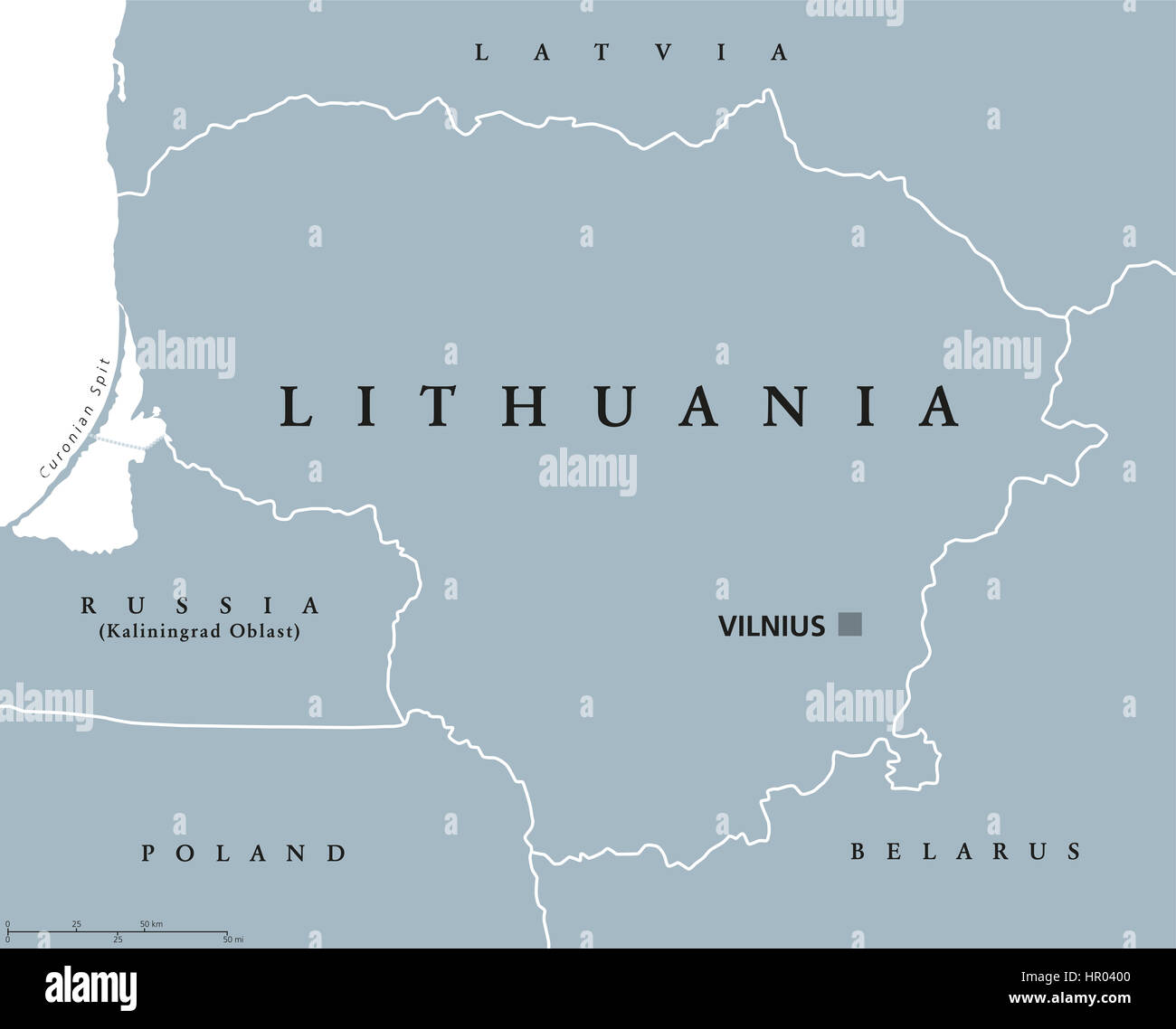Lithuania political map with capital Vilnius, national borders and neighbor countries. Republic in Northern Europe, Stock Photo