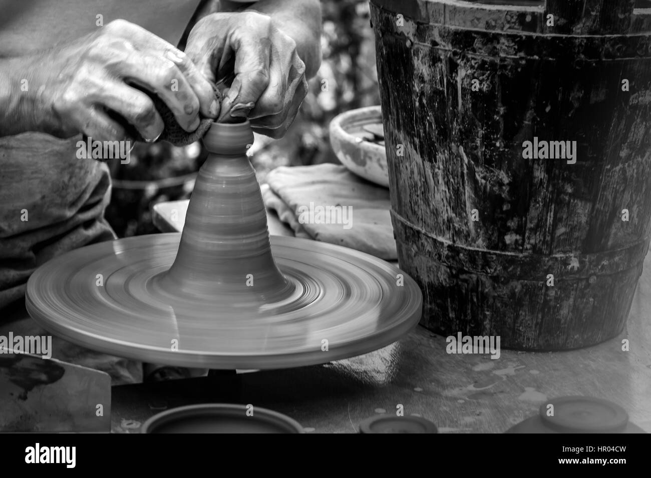 Artisan is working - Black and White - Stock Image