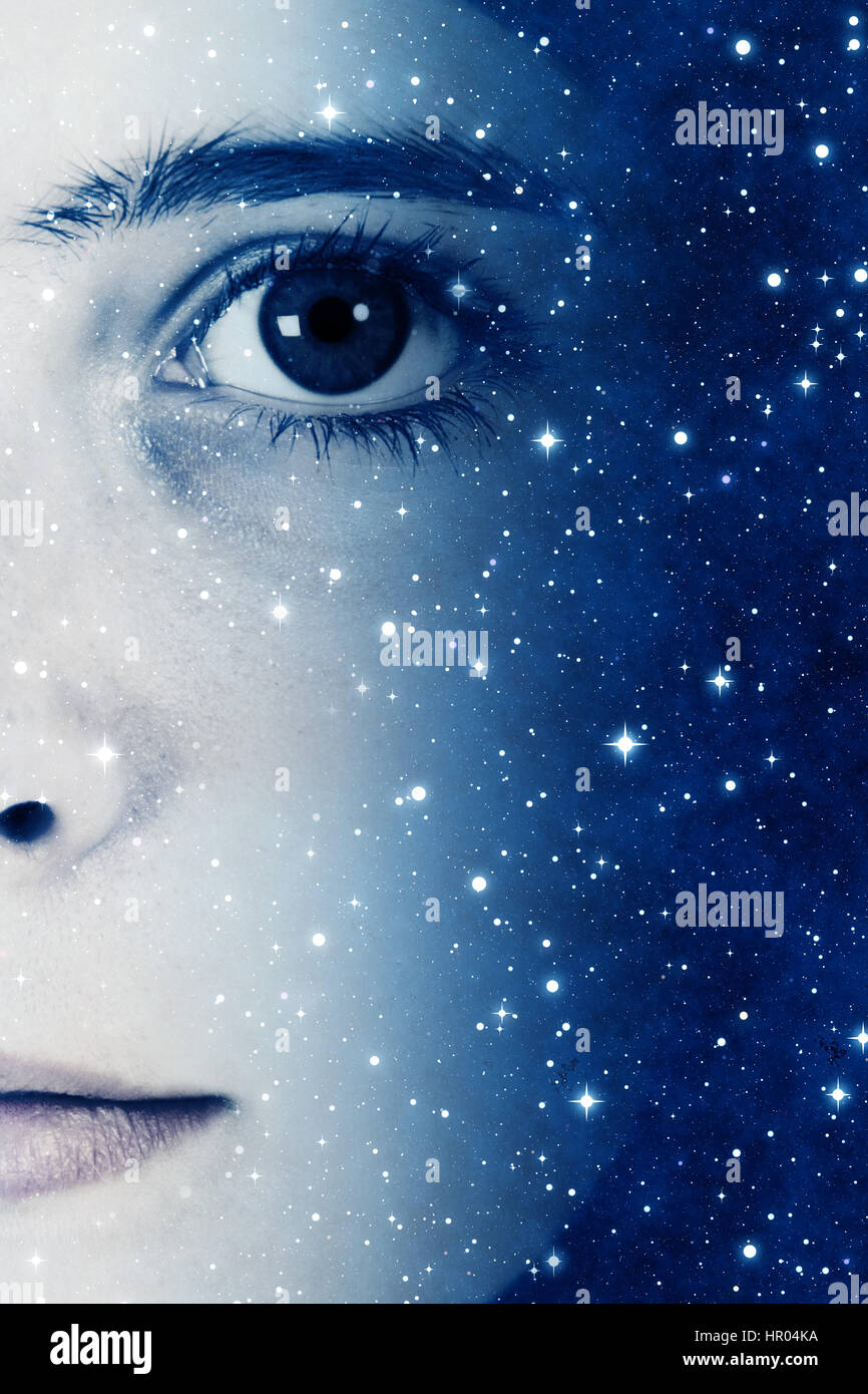 girl face and stars, future generations concept - Stock Image