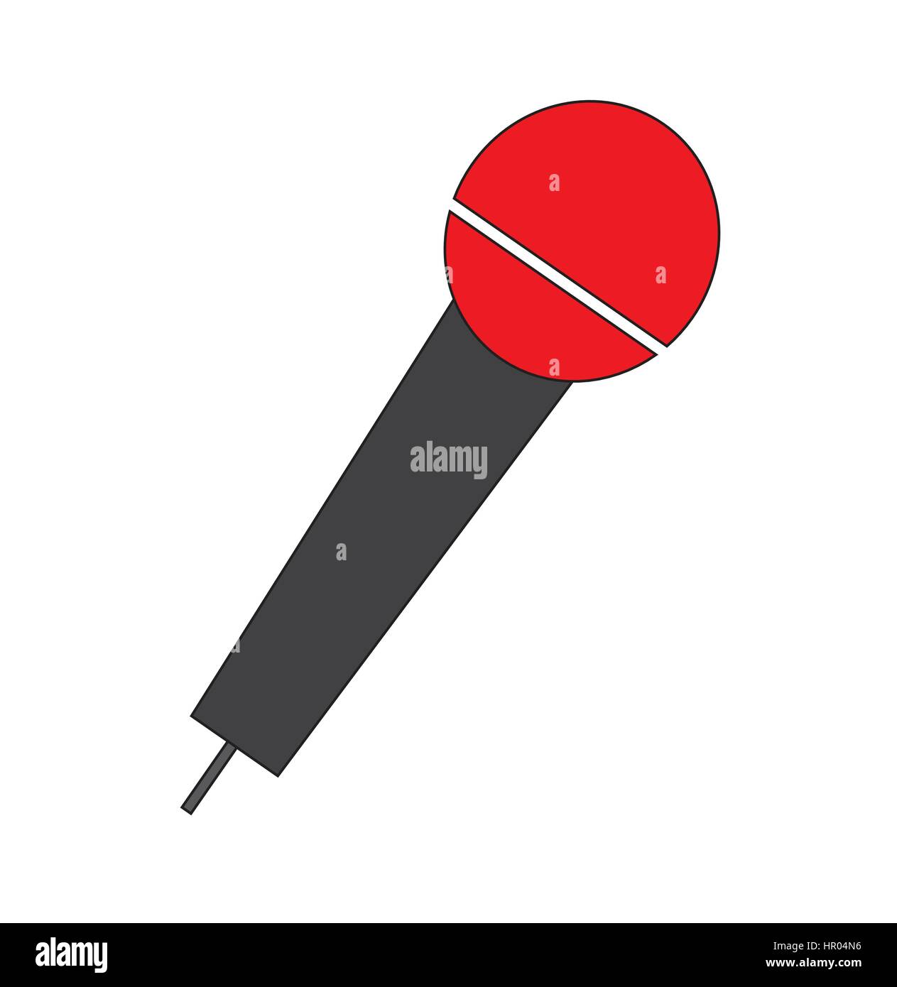 Microphone icon vector isolated in white background. - Stock Image