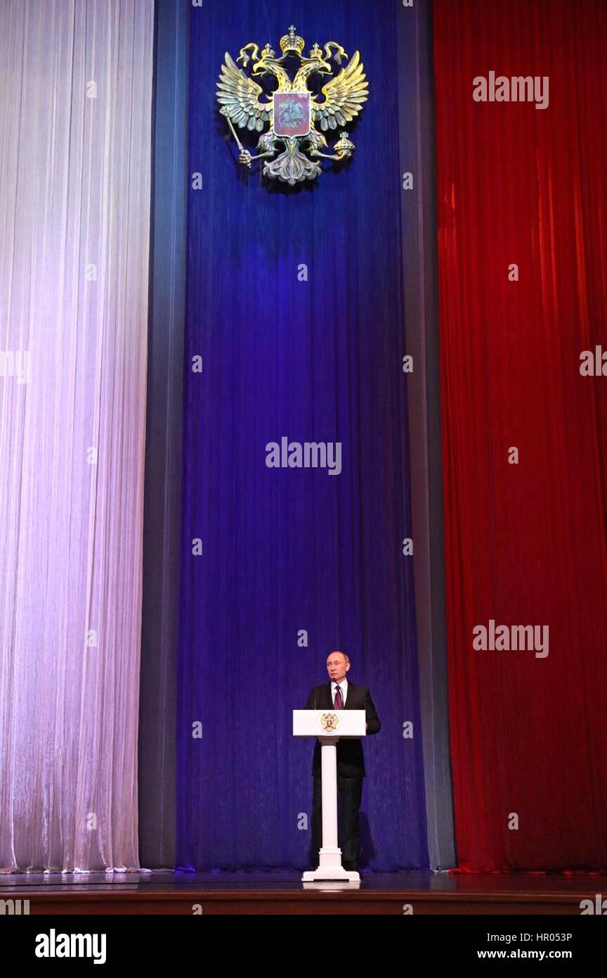 Russian President Vladimir Putin addresses a gala to mark Defender of the Fatherland Day at the Grand Kremlin Palace - Stock Image