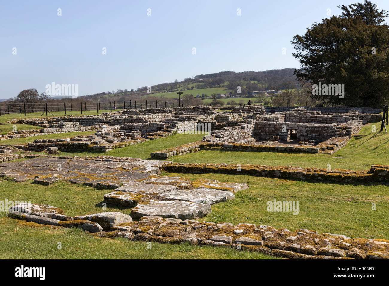 Hadrian's Wall: Chesters Roman fort (Cilurnum or Cilurvum) - the remains of the Commanding Officer's house - Stock Image