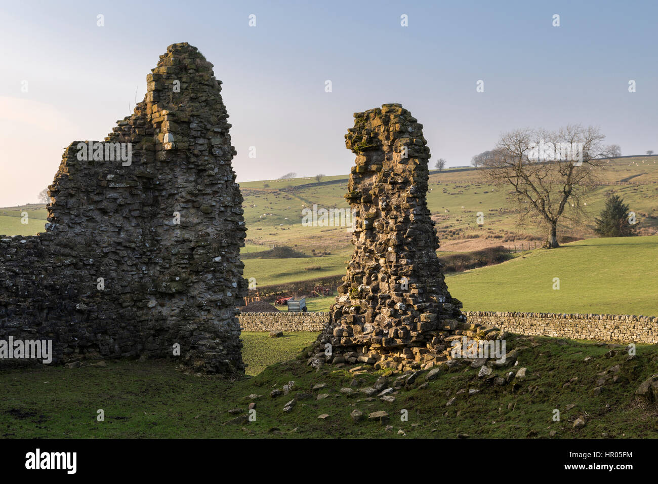 Bewcastle Castle, Cumbria, England - a section of the remains with farmland beyond. - Stock Image