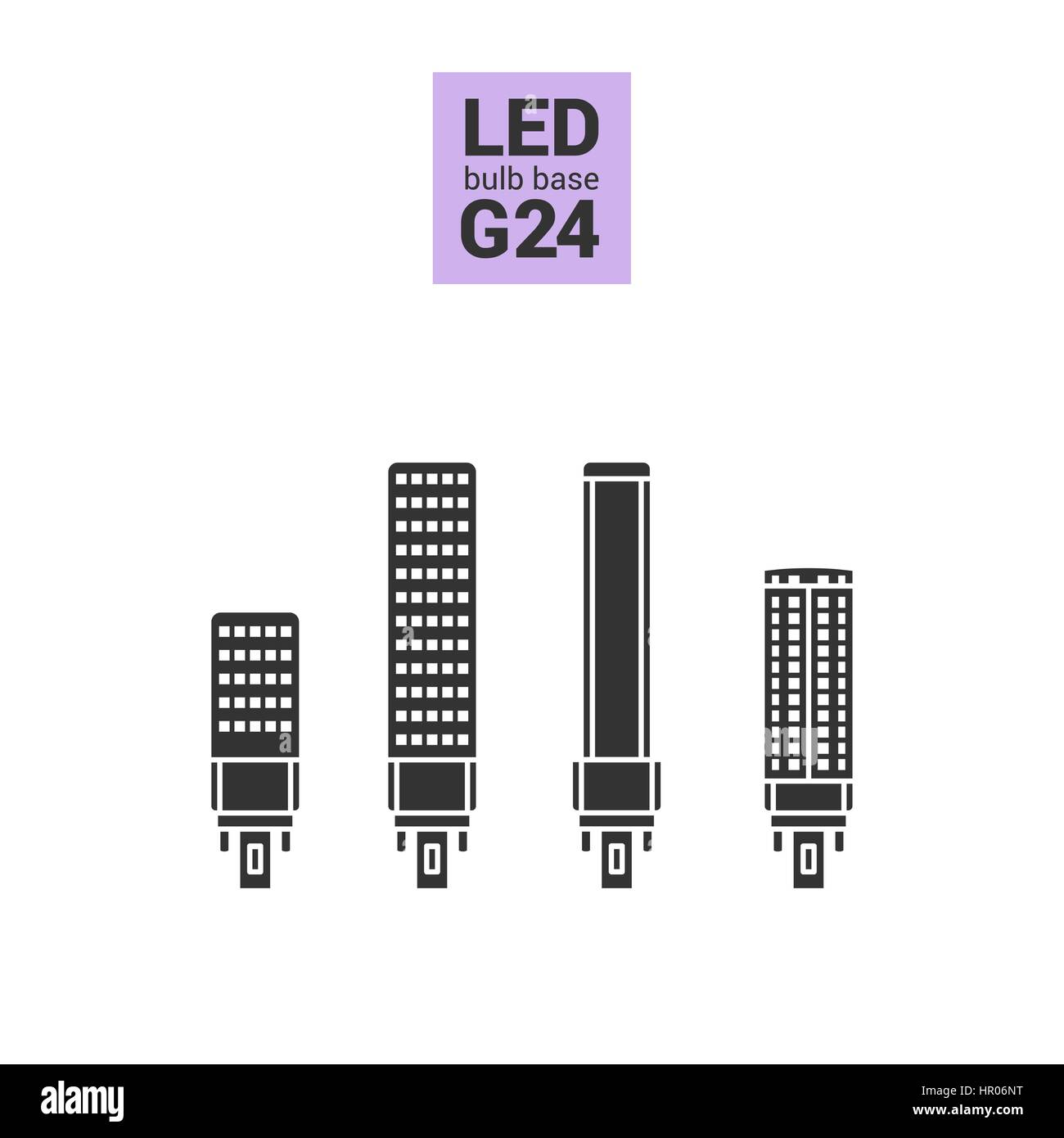 Light Bulbs Stock Vector Images Page 2 Alamy Led G24 Wiring Diagram With Base Silhouette Icon Set On White Background