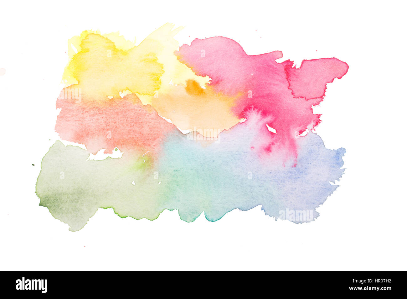 Lucent watercolor glaze of colorful colors yellow, orange, red, blue, green - Stock Image