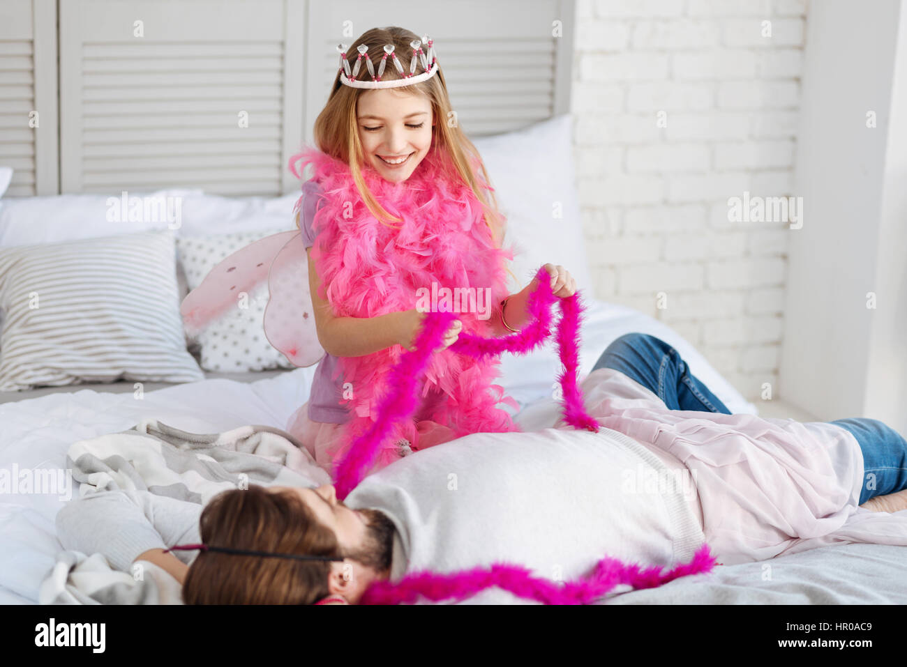 Play With Me Little Princess Wearing Crown And Pink Shawl Having