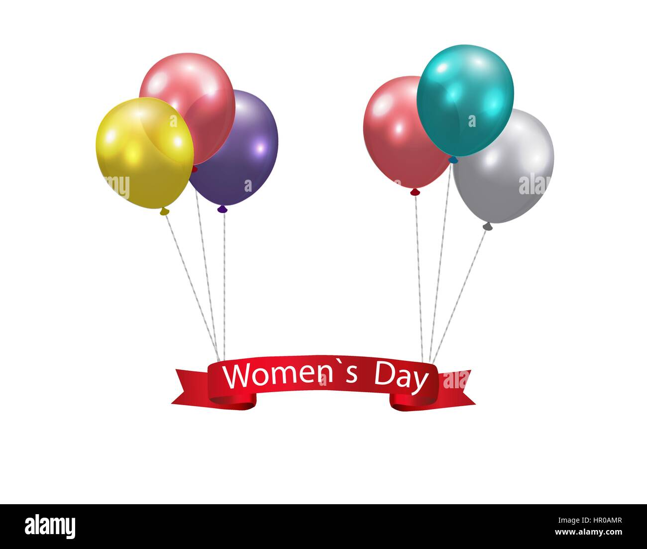 Women s Day Multicolored balloons and a ribbon with the inscription. Vector illustration - Stock Image