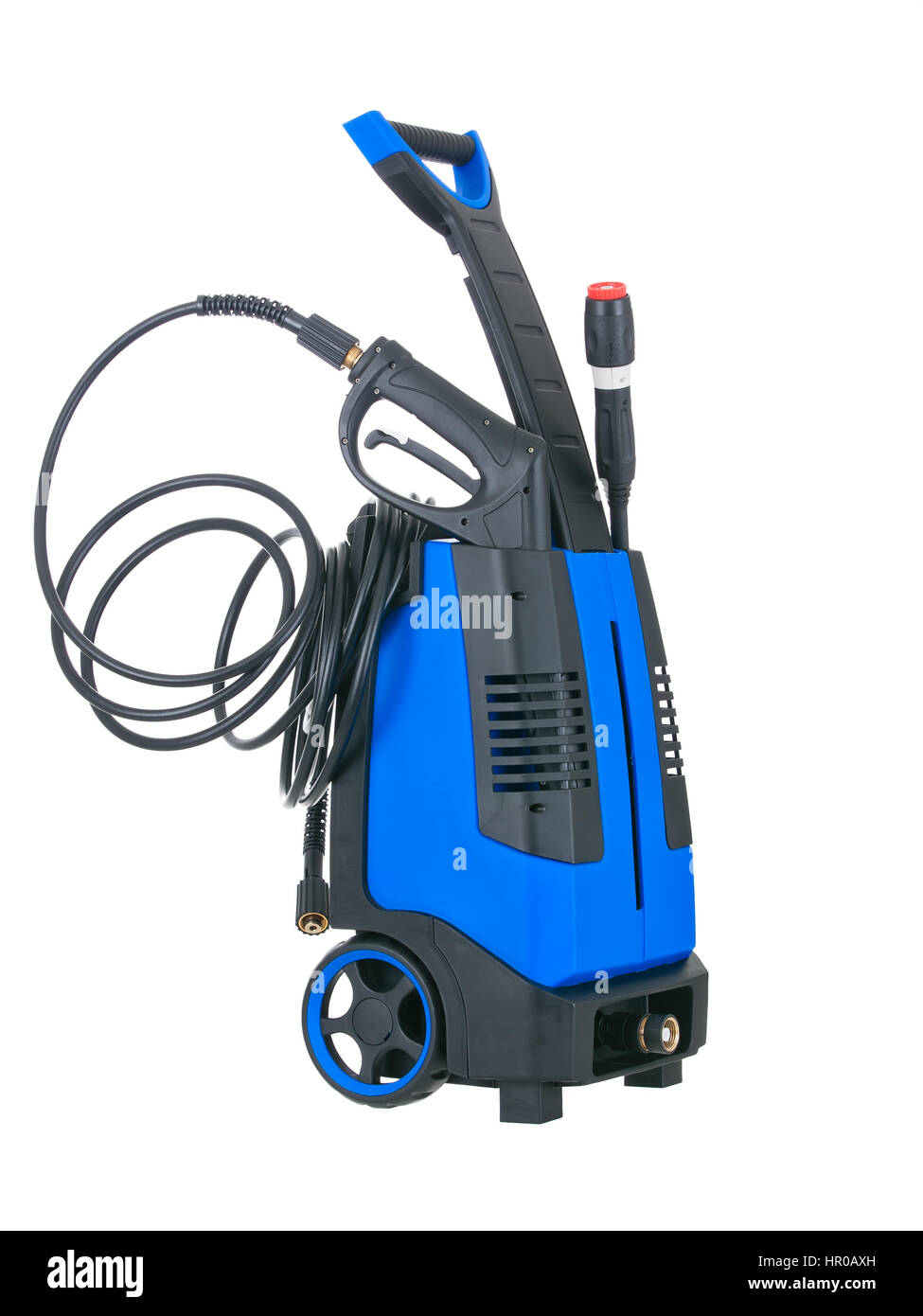 Blue pressure portable washer with inserted gun on pure white background - Stock Image