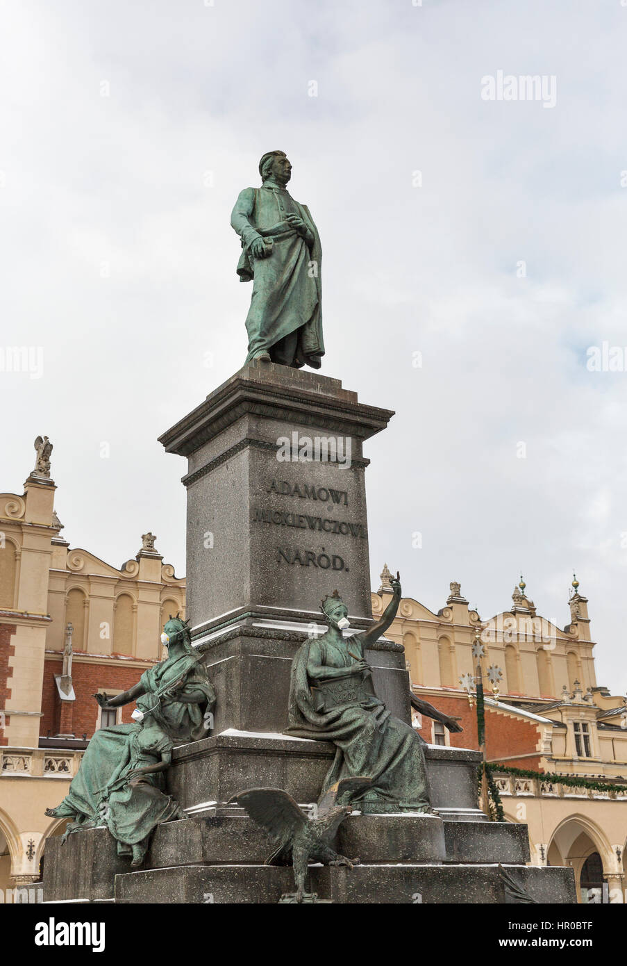 Adam Mickiewicz, greatest Polish Romantic poet of the 19th century, monument in Krakow, Poland. It is a favourite Stock Photo