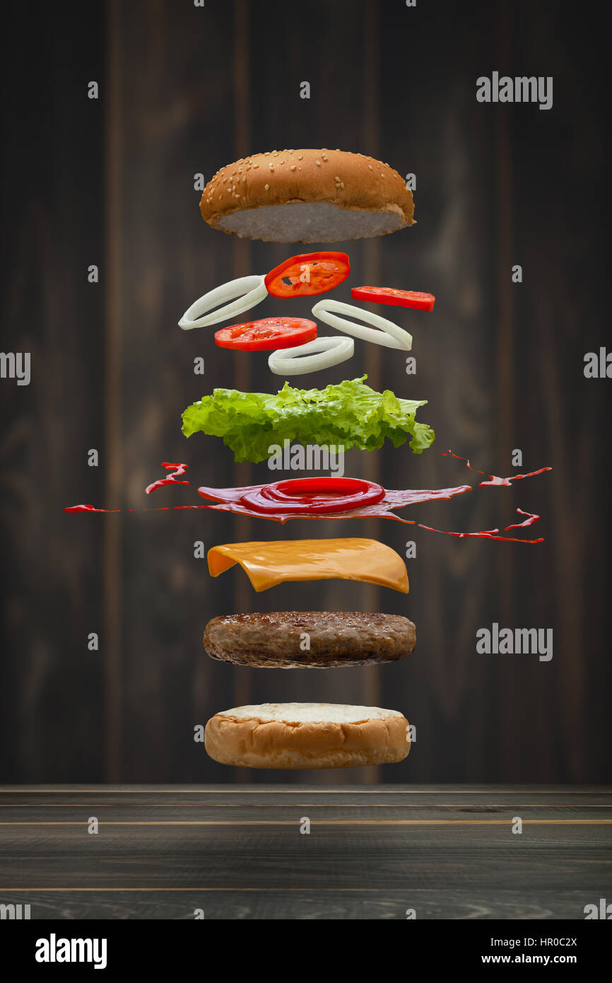Tasty grilled beef Burger food Floating, food flying style. - Stock Image