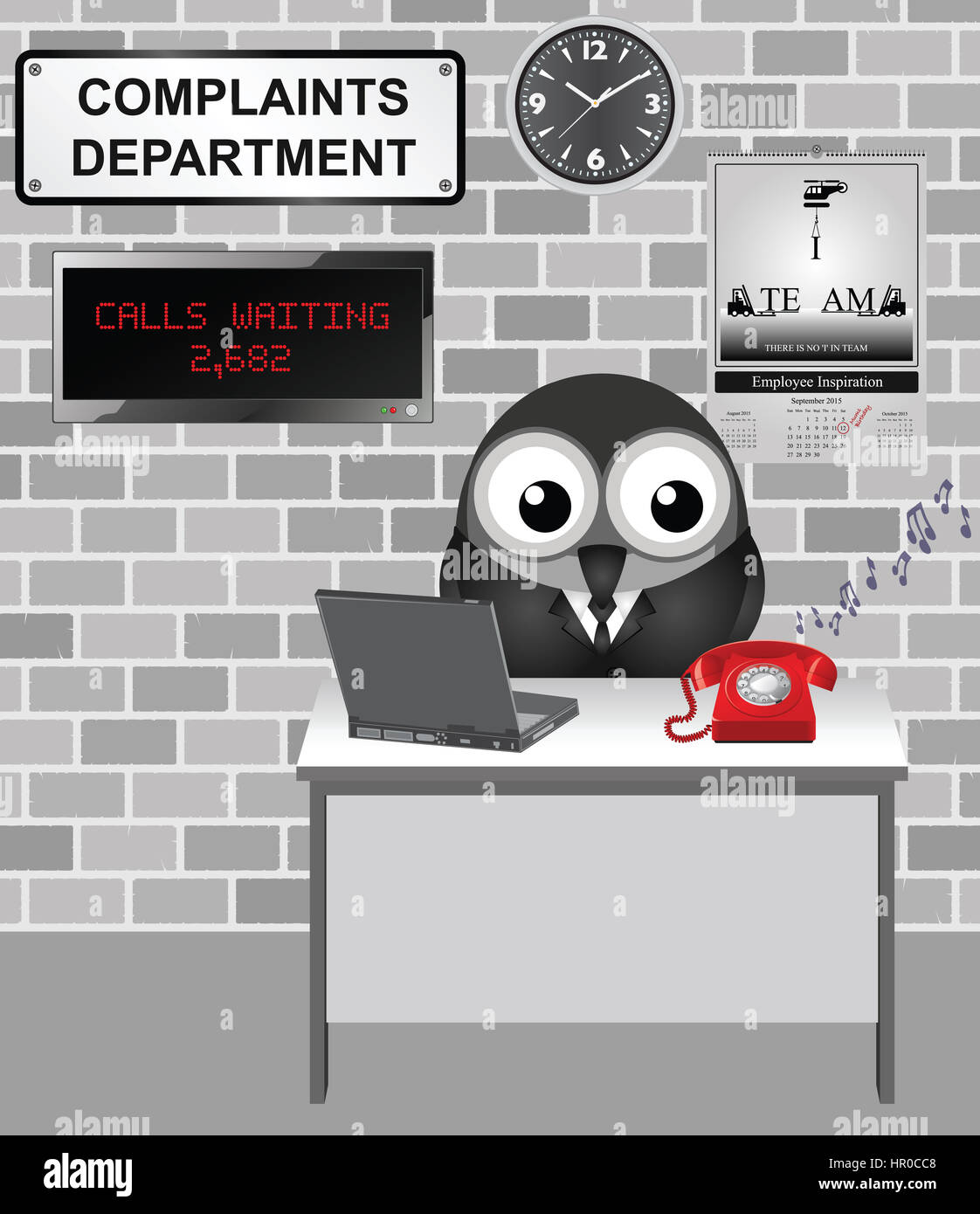 Comical bird worker in the complaints department fed up listening to people complaining and ignoring incoming customer - Stock Image