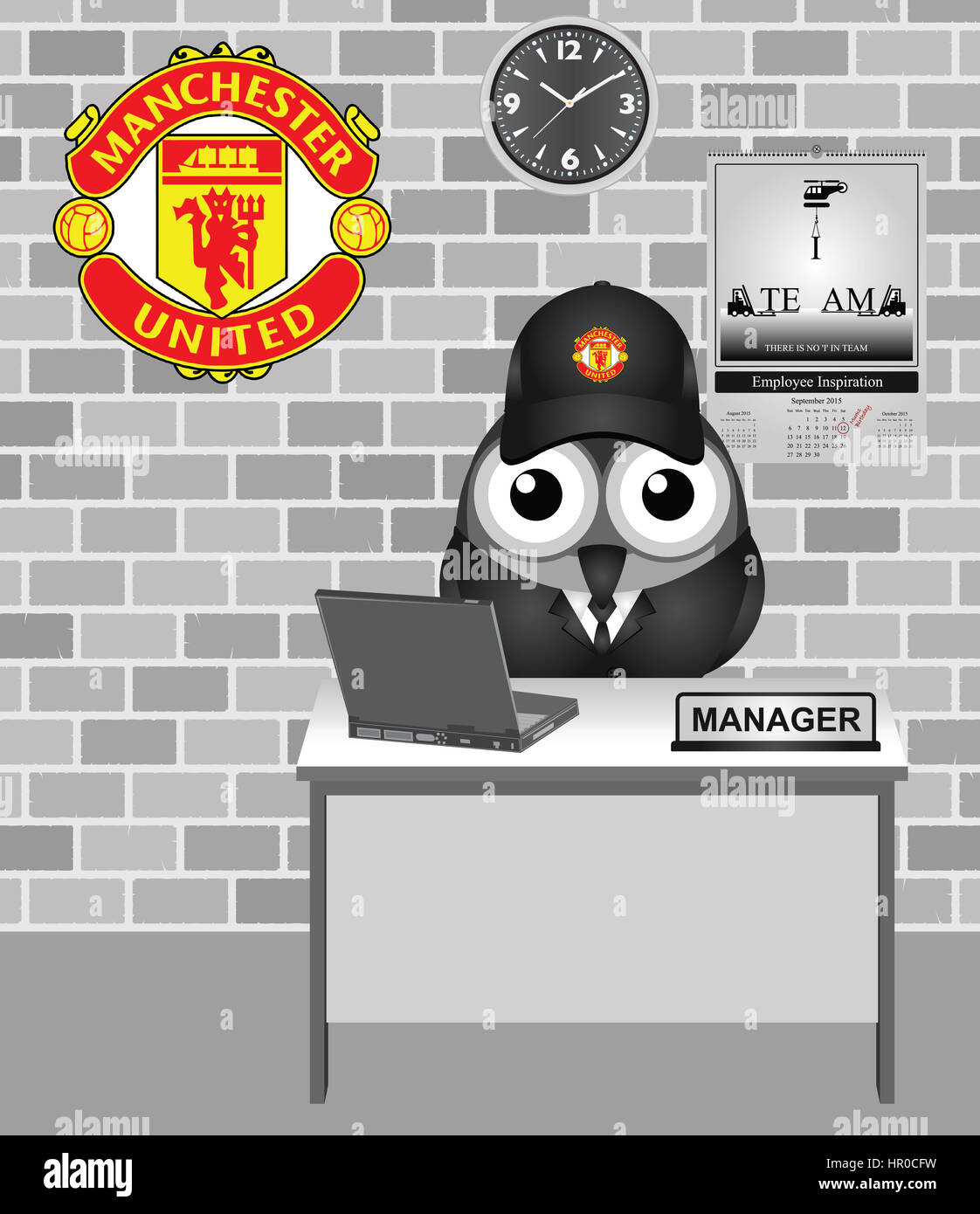Comical bird Manchester United football club team manager, club founded in 1878 as Newton Heath, became Manchester - Stock Image