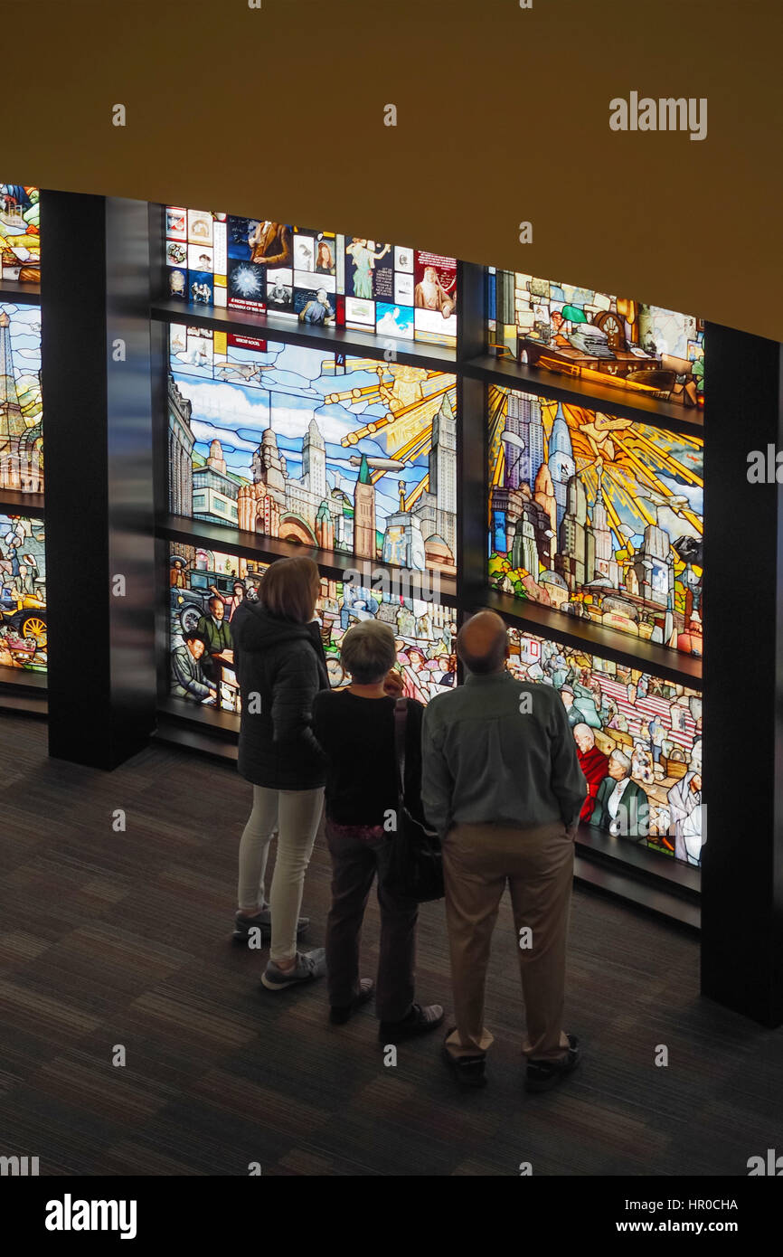 the roots of knowledge stained glass installation at utah valley