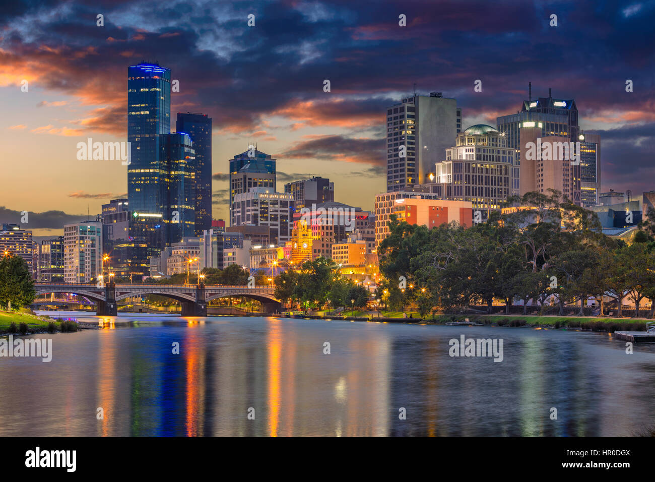 City of Melbourne. Cityscape image of Melbourne, Australia during summer sunset. - Stock Image