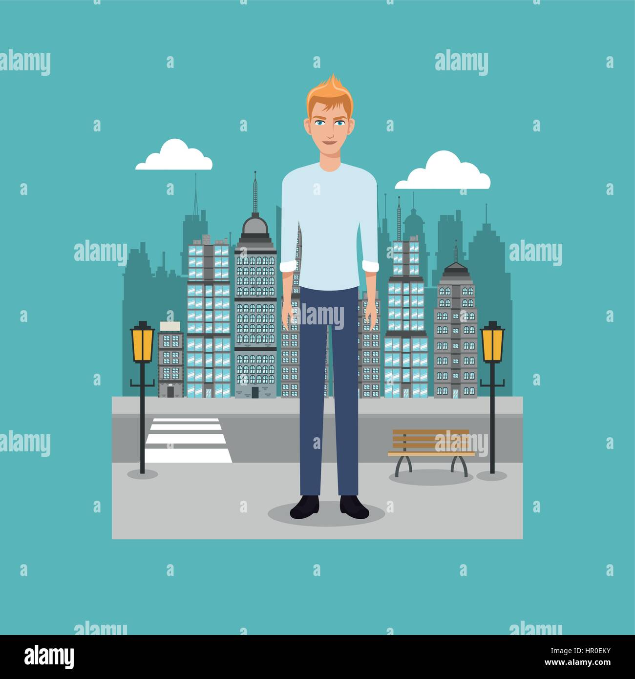 young guy standing street brench and lamp post city - Stock Vector