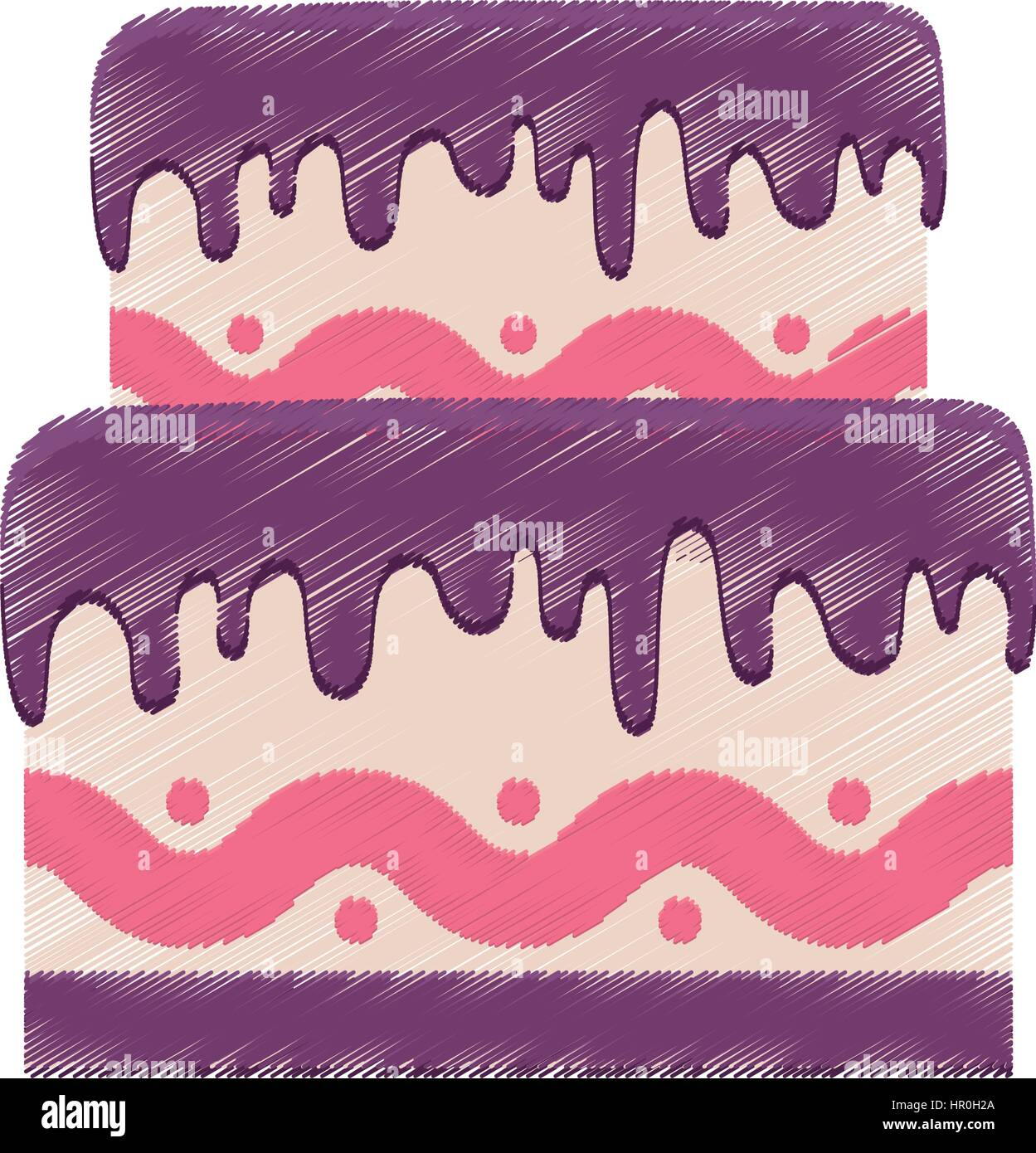 Drawing Birthday Cake Purple Cream Stock Photos Drawing Birthday