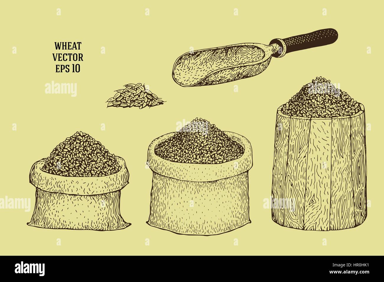 Hand drawn vector illustrations with wheat grains in sacks and barrels - Stock Vector