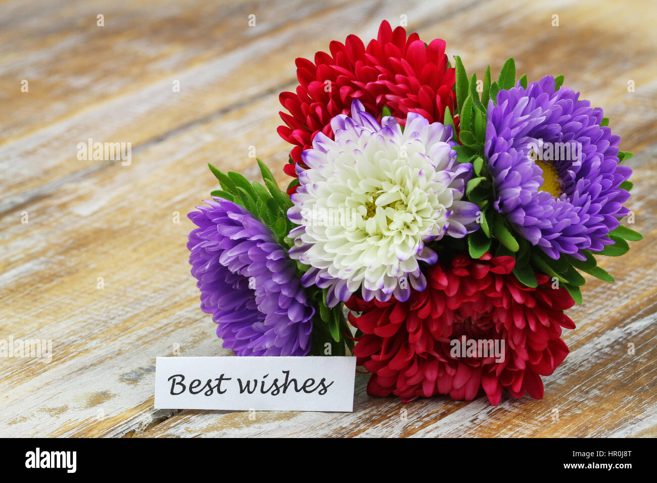 Best wishes card with colorful flower bouquet on rustic wooden Stock ...