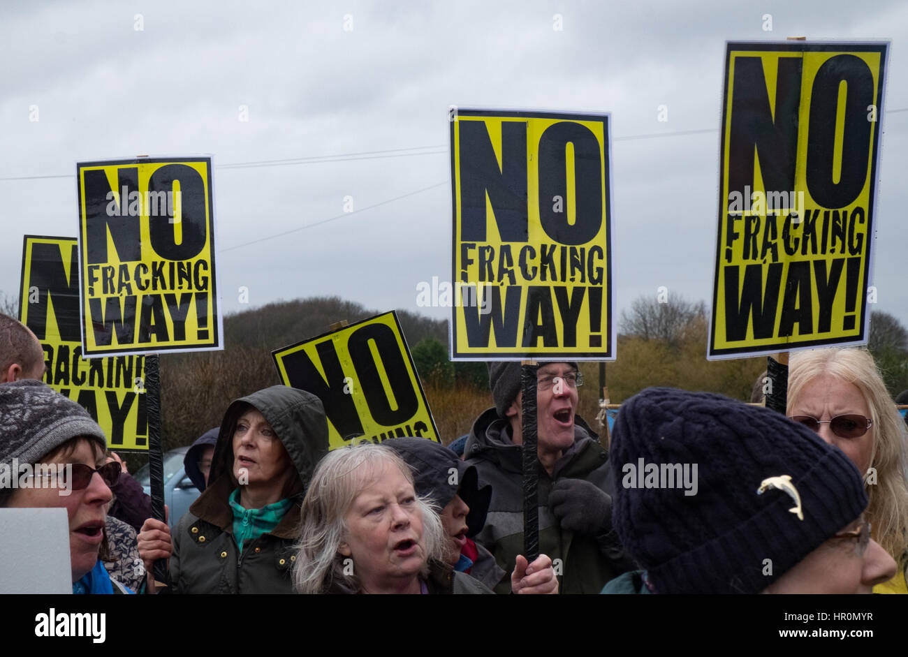 Eckington, UK. 25th Feb, 2017. Marsh Lane, Chesterfield, Derbyshire, UK, February 25th 2017, Peaceful demonstration - Stock Image