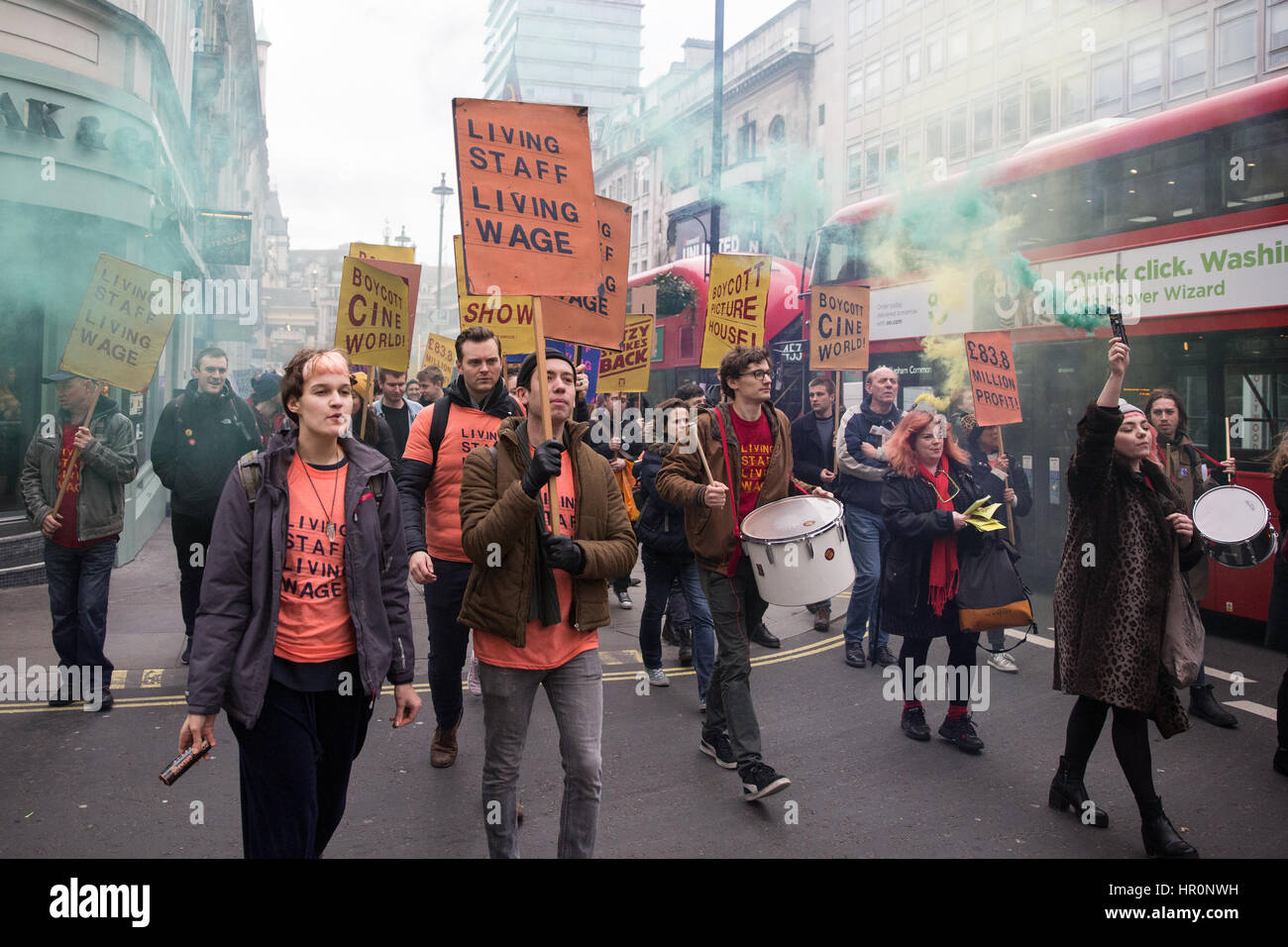 London, UK. 25th Feb, 2017. Picturehouse cinema workers march between Picturehouse cinemas to call on their owners - Stock Image