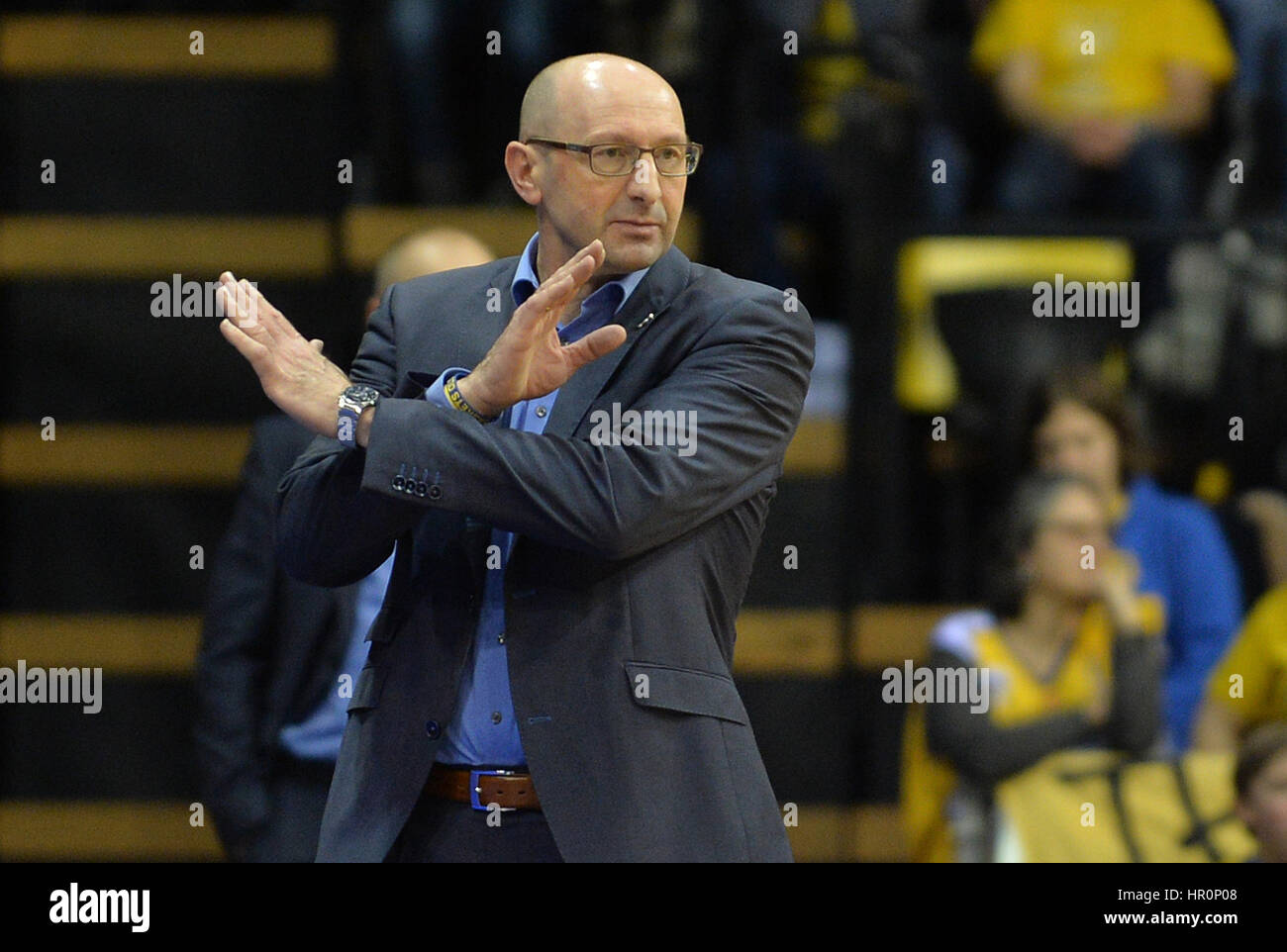 Oldenburg's coach Mladen Drijencic gestures on the sideline during the game between EWE Baskets Oldenburg vs. - Stock Image