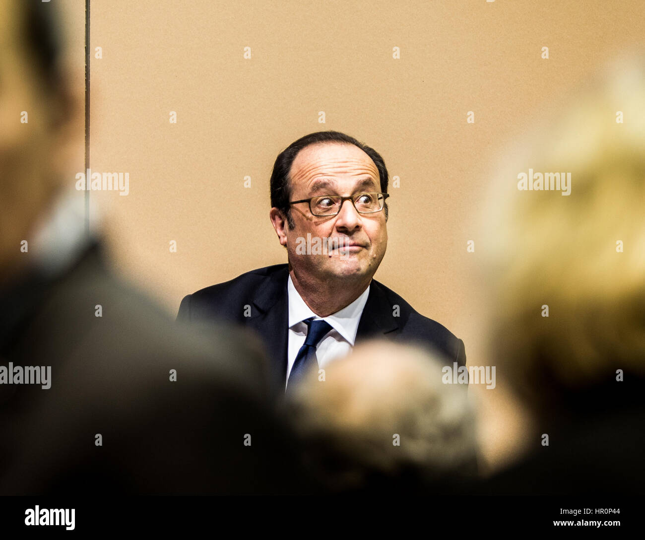 Paris, France. 25th Feb, 2017. Francois Hollande French president at the Agriculture exhibition in Paris -  25/02/2017 - Stock Image