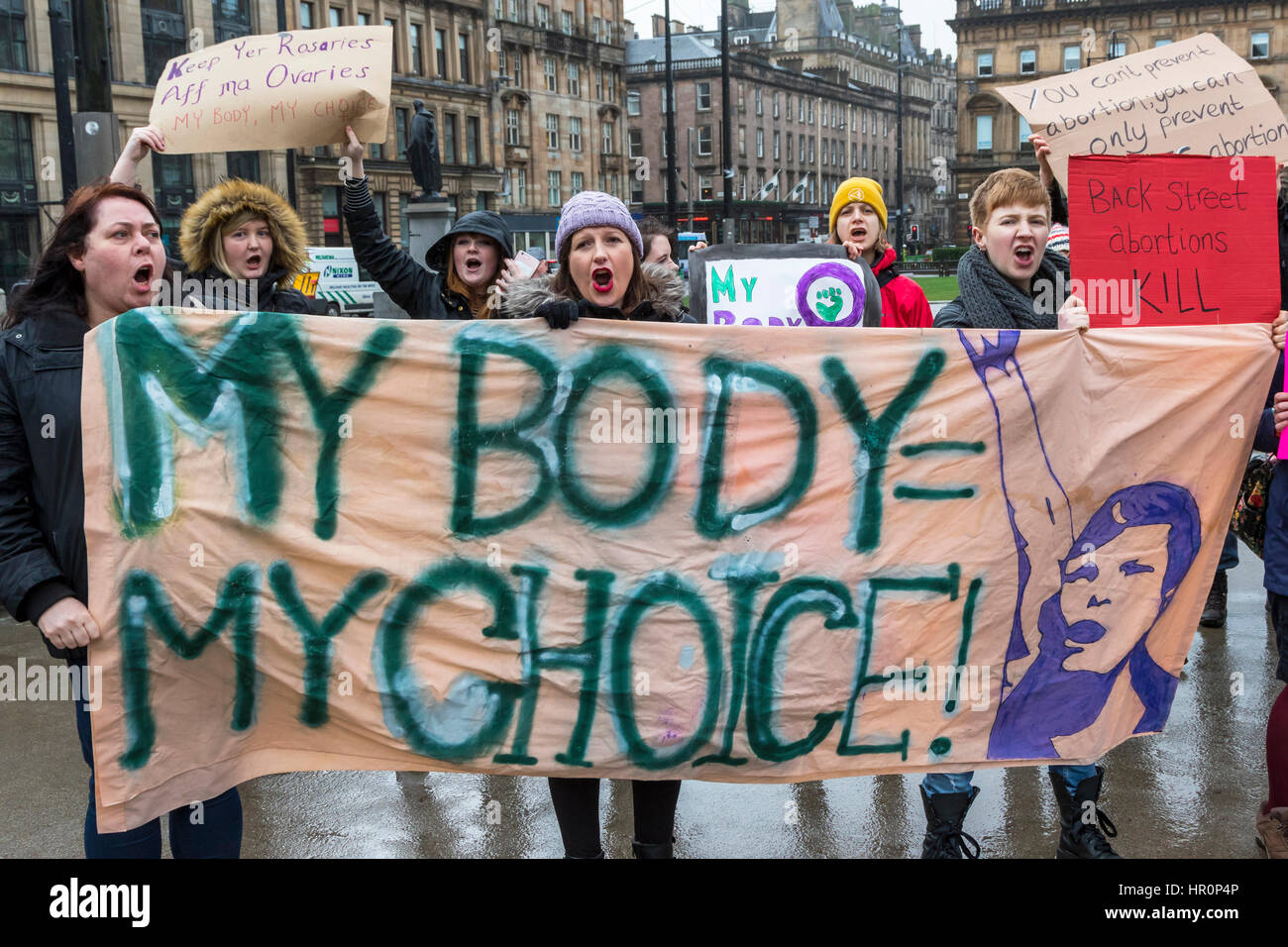 Glasgow, Scotland, UK. 25th Feb, 2017. '40 Days for Life', a Christian Pro-Life and anti abortion group - Stock Image