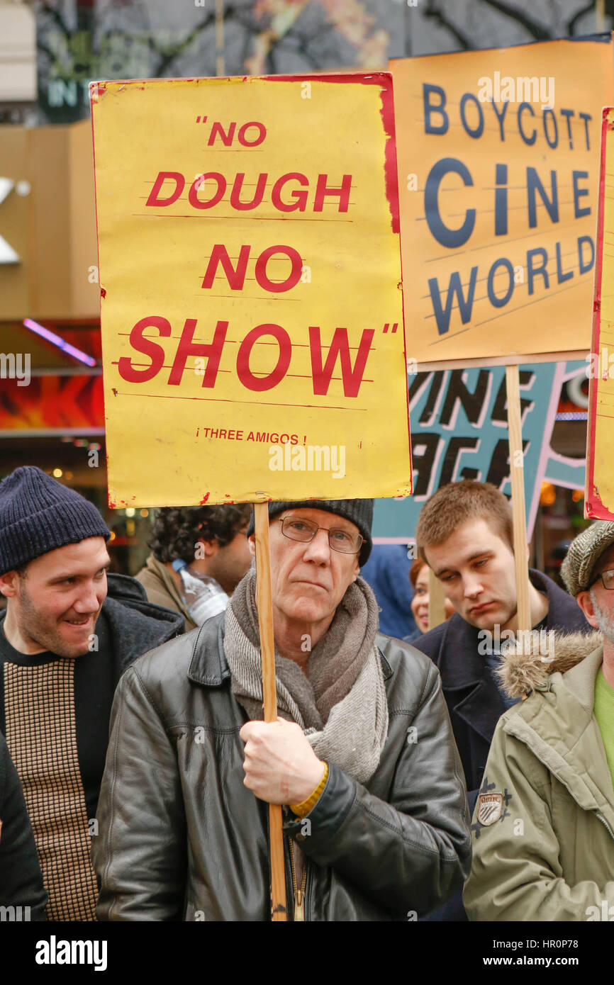 L ondon, UK. 25th Feb, 2017. Demo for living wage support the PictureHouse strike outside the Empire cinema Leiceste - Stock Image
