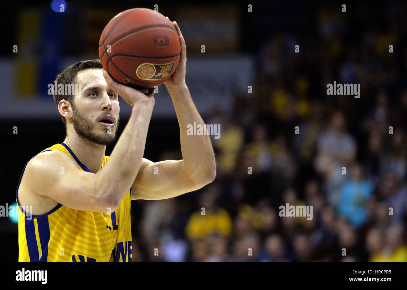 Oldenburg's Vladimir Mihailovic with a free throw during the game between EWE Baskets Oldenburg vs. ratiopharm - Stock Image