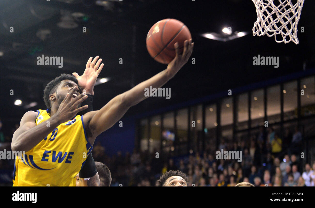 Oldenburg's Frantz Massenat during the game between EWE Baskets Oldenburg vs. ratiopharm Ulm in the main EWE - Stock Image