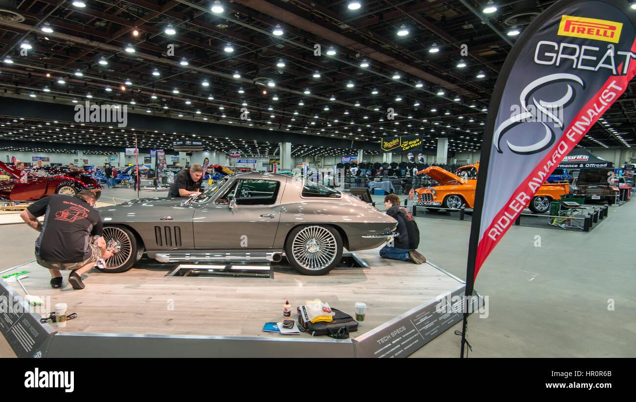 Detroit, USA  25th Feb, 2017  A 1966 Chevrolet Corvette car