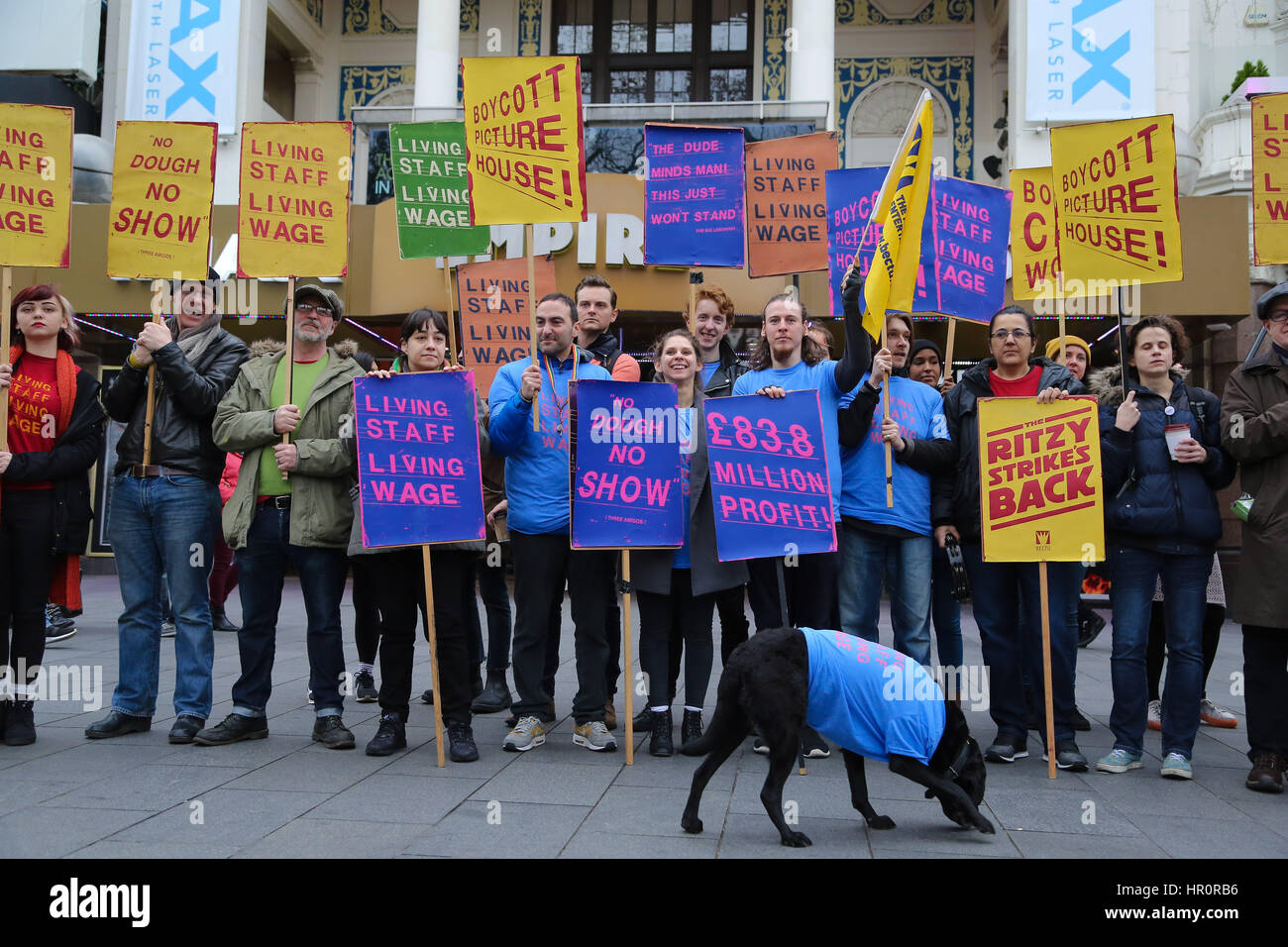 Empire Cinema, Leicester Square, London. UK 25 Feb 2017. Empire Cinema Picturehouse workers walk out on strike and Stock Photo