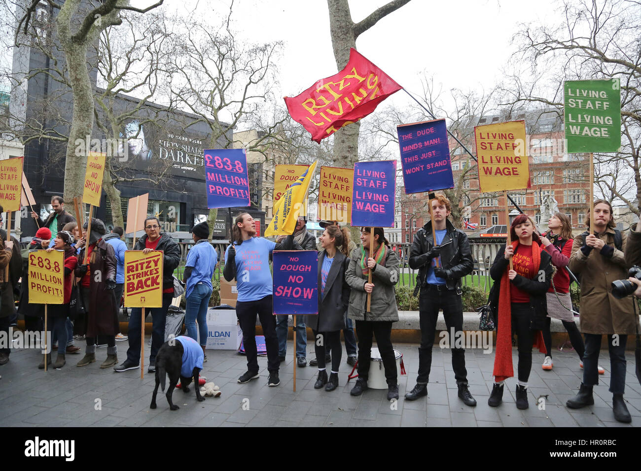 Empire Cinema, Leicester Square, London. UK 25 Feb 2017. Empire Cinema Picturehouse workers walk out on strike and - Stock Image