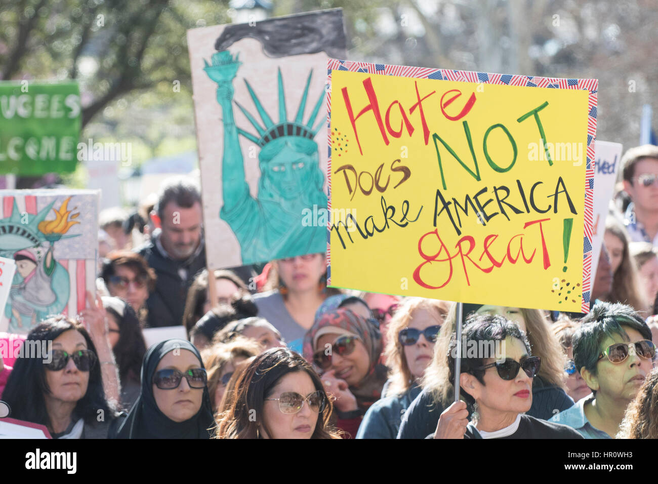 Austin, Texas, USA. 25th February 2017. More than a thousand protesters converge at the Texas Capitol for a Saturday - Stock Image