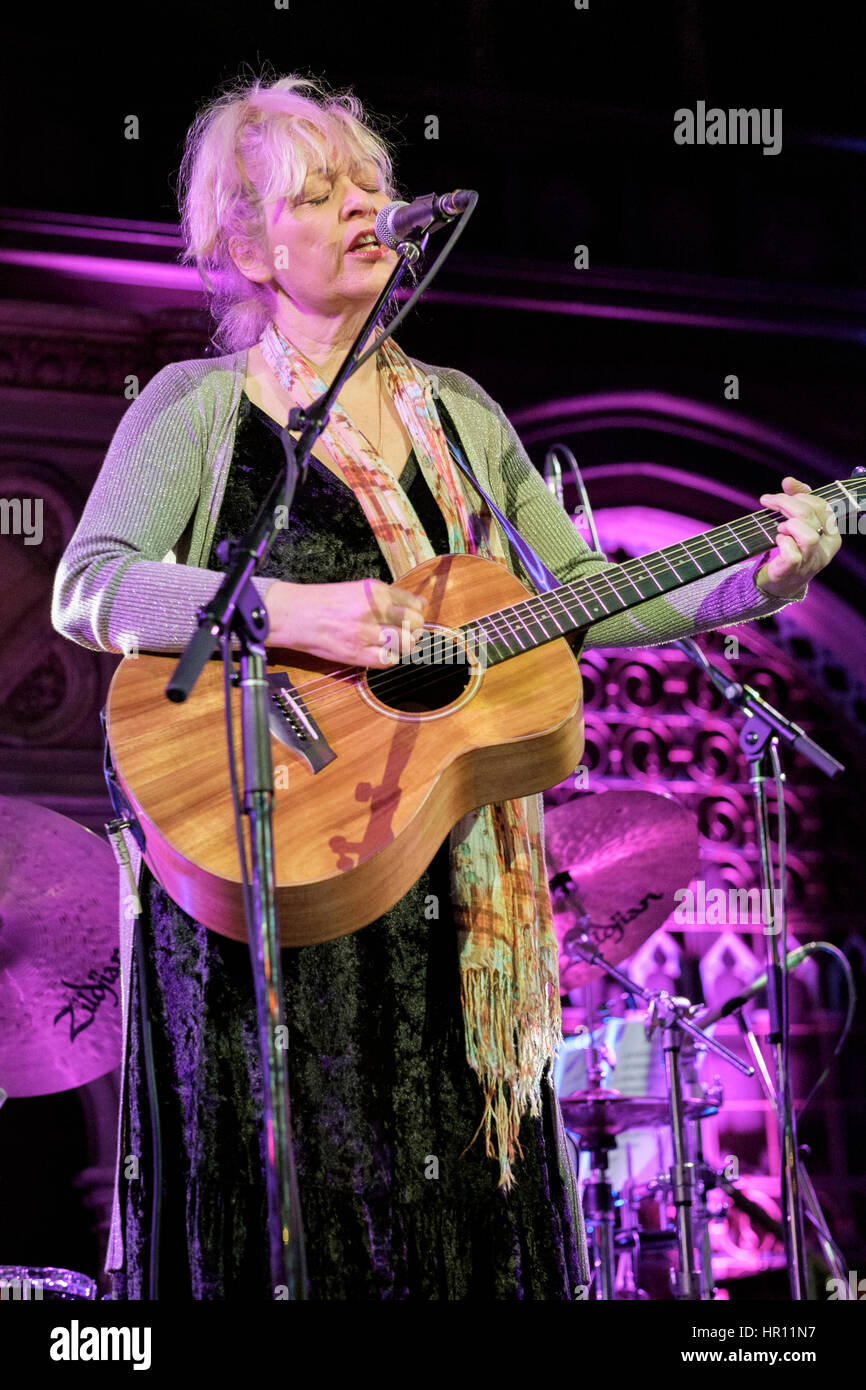 London, UK. 25th Feb, 2017. Singer/songwriter Sally Barker performing at the Union Chapel Credit: MusicLive/ Alamy Stock Photo