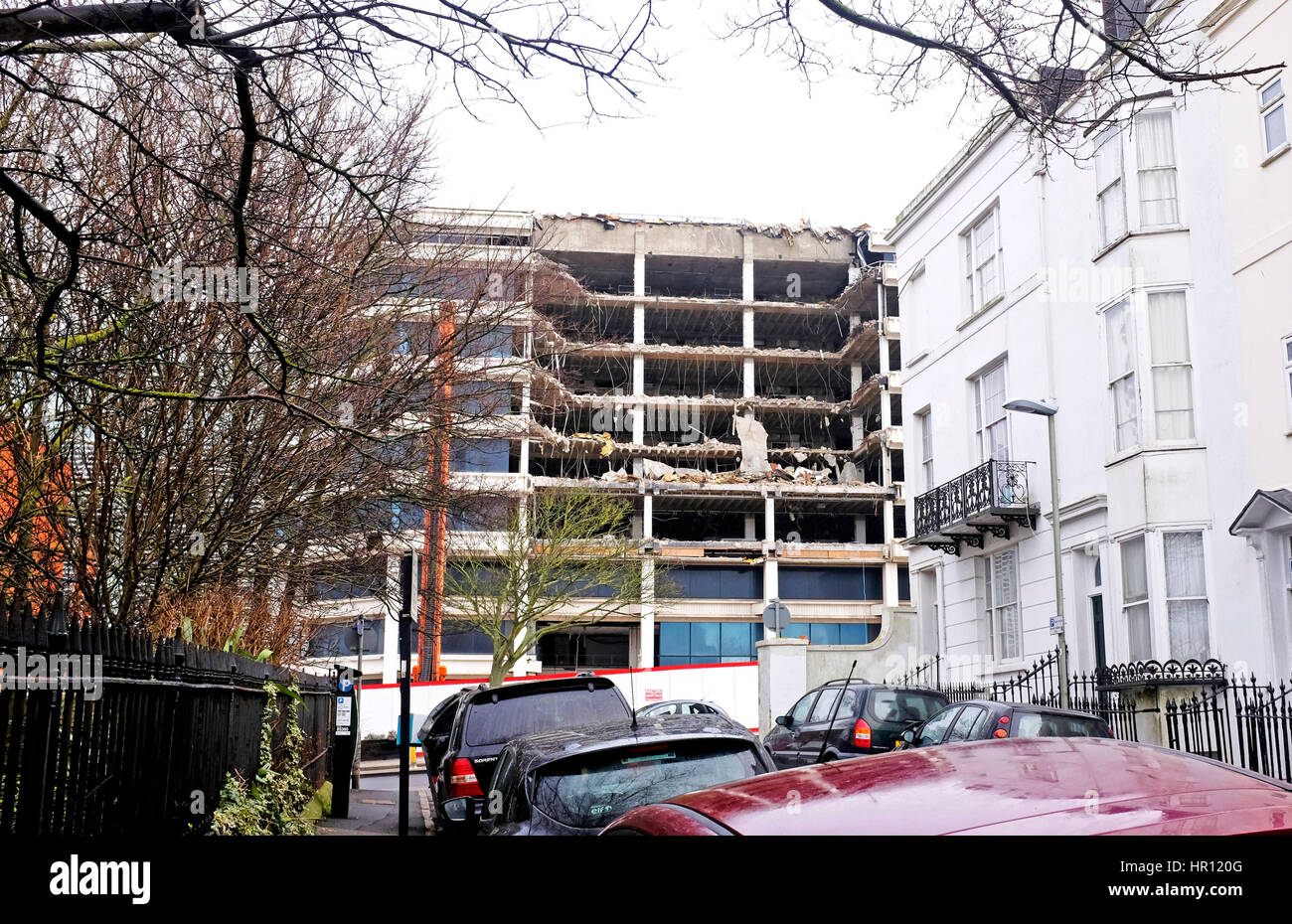 Brighton, Sussex, UK. 26th Feb, 2017. Demolition work taking place on the old American Express European headquarters - Stock Image
