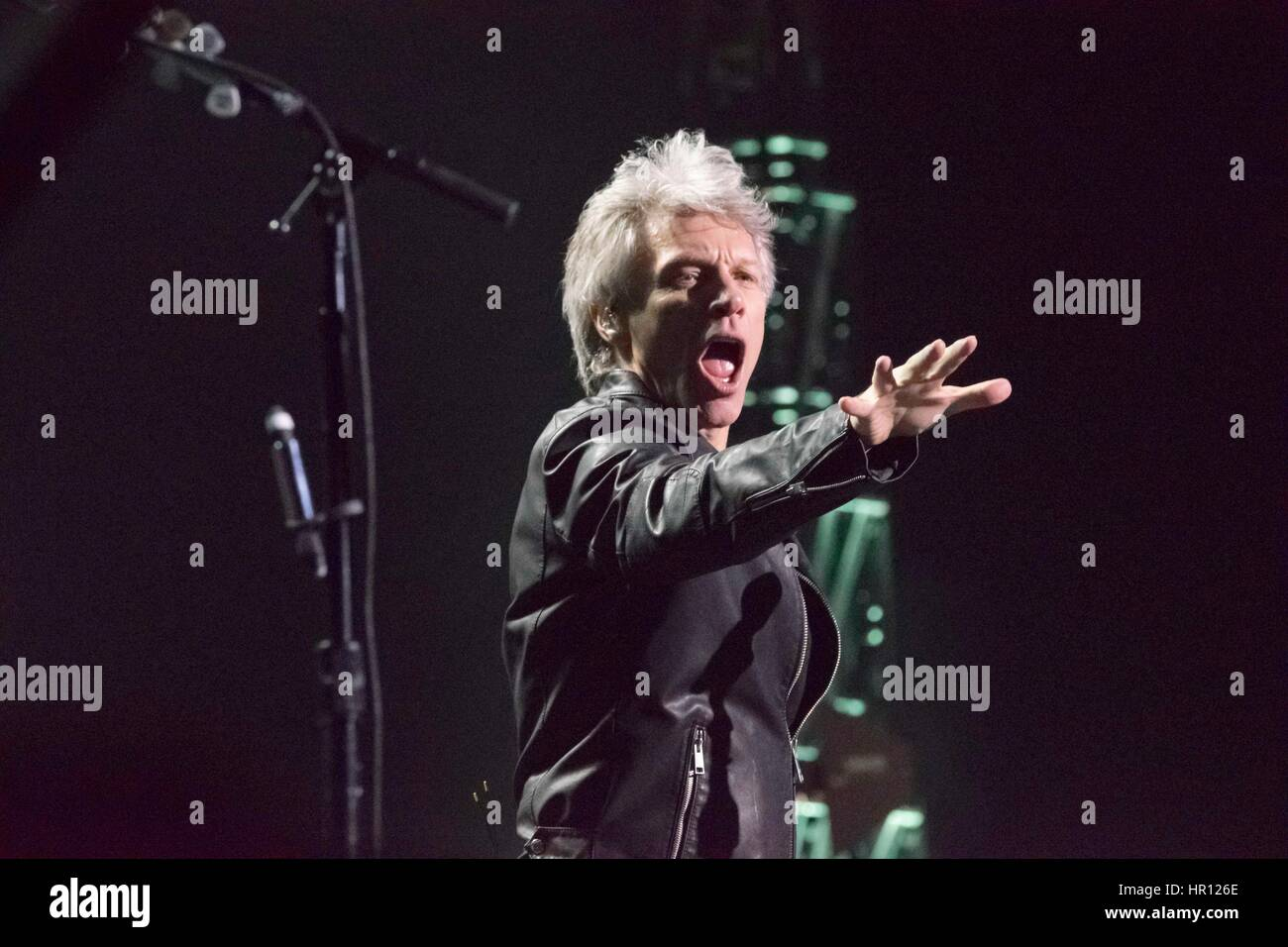 Las Vegas, Nevada, USA. 25th February 2017. Singer Jon Bon Jovi performs live at the T-Mobile Arena on February Stock Photo
