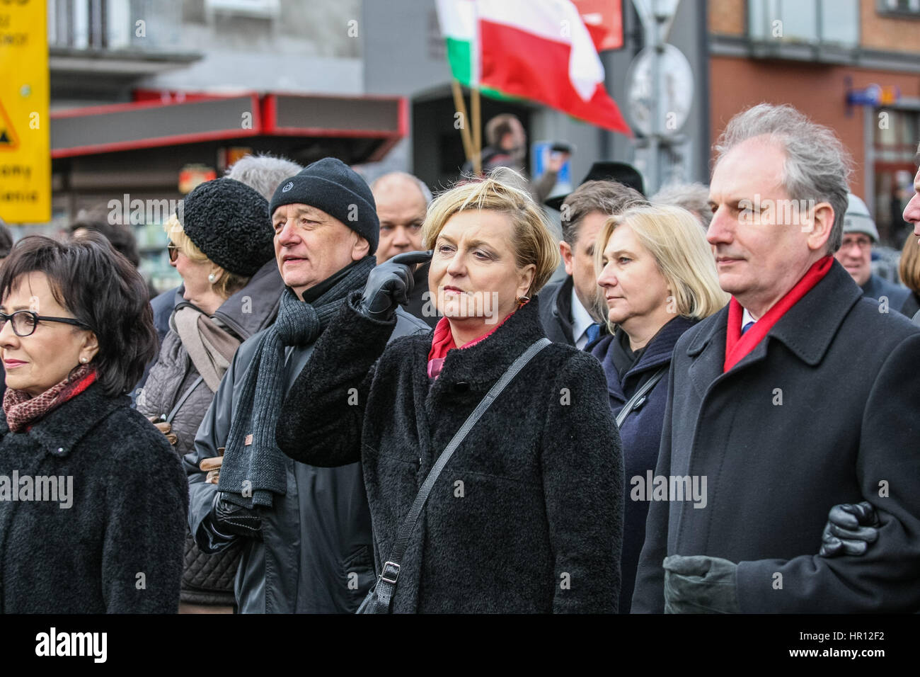 Gdansk, Poland. 26th February 2017. Anna Fotyga is seen during the Cursed soldiers Day parade on 26 February 2017 Stock Photo