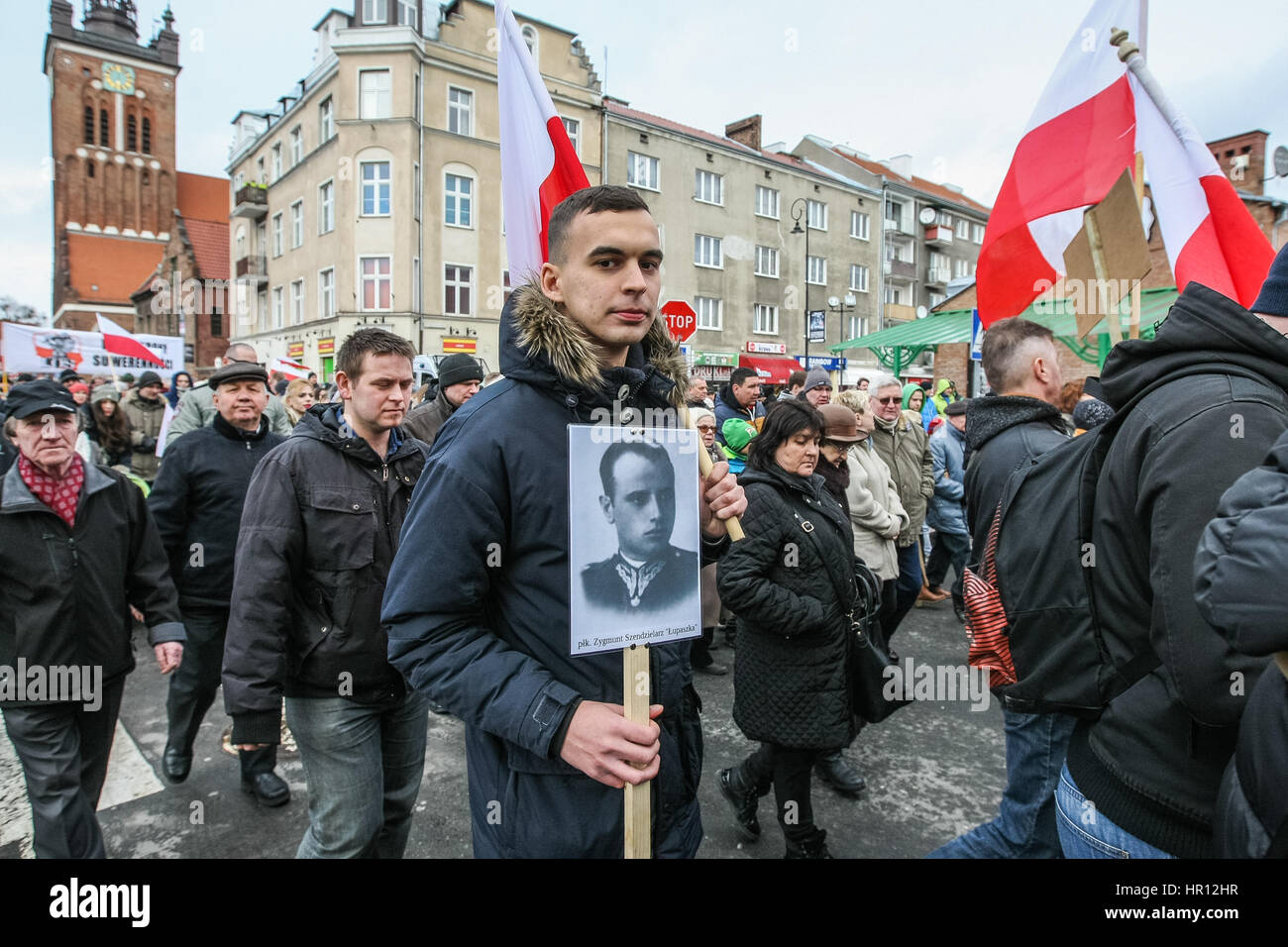 Gdansk, Poland. 26th February 2017. People with Cursed soldiers portraits are seen during the Cursed soldiers Day Stock Photo