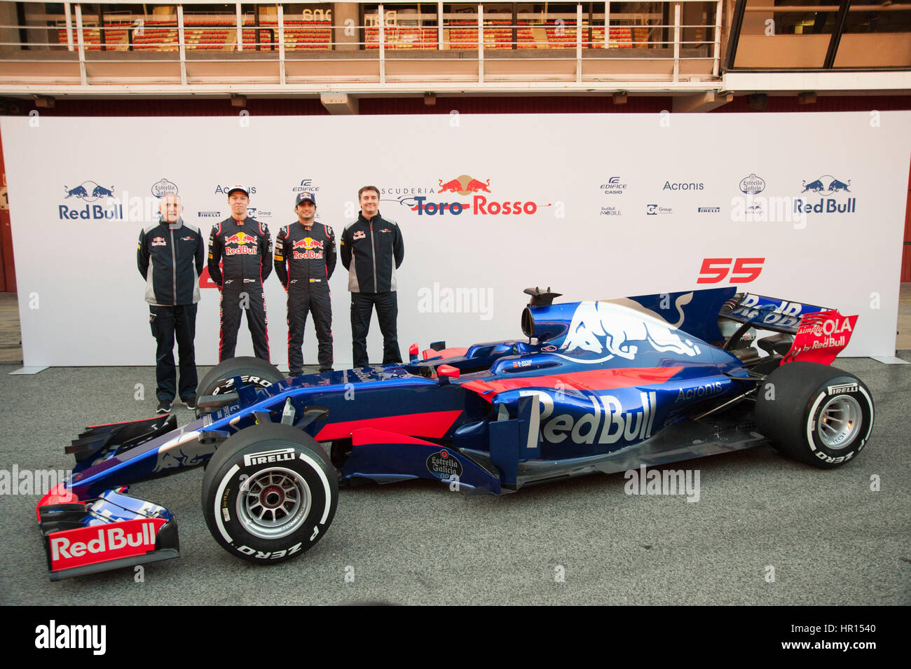 Barcelona, Spain. 26th February, 2017. (from left to right) Carlos Sainz, Daniil Kvyat (drivers) Franz Tost (team - Stock Image