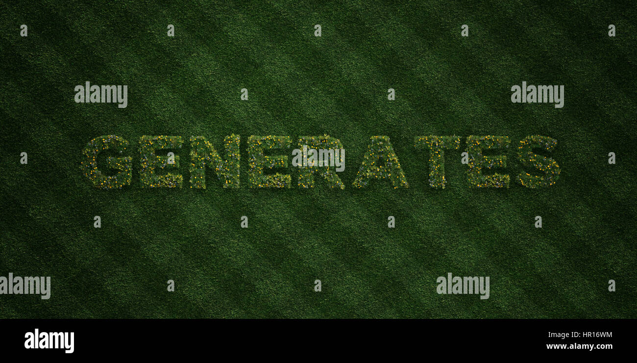 GENERATES - fresh Grass letters with flowers and dandelions - 3D rendered royalty free stock image. Can be used - Stock Image